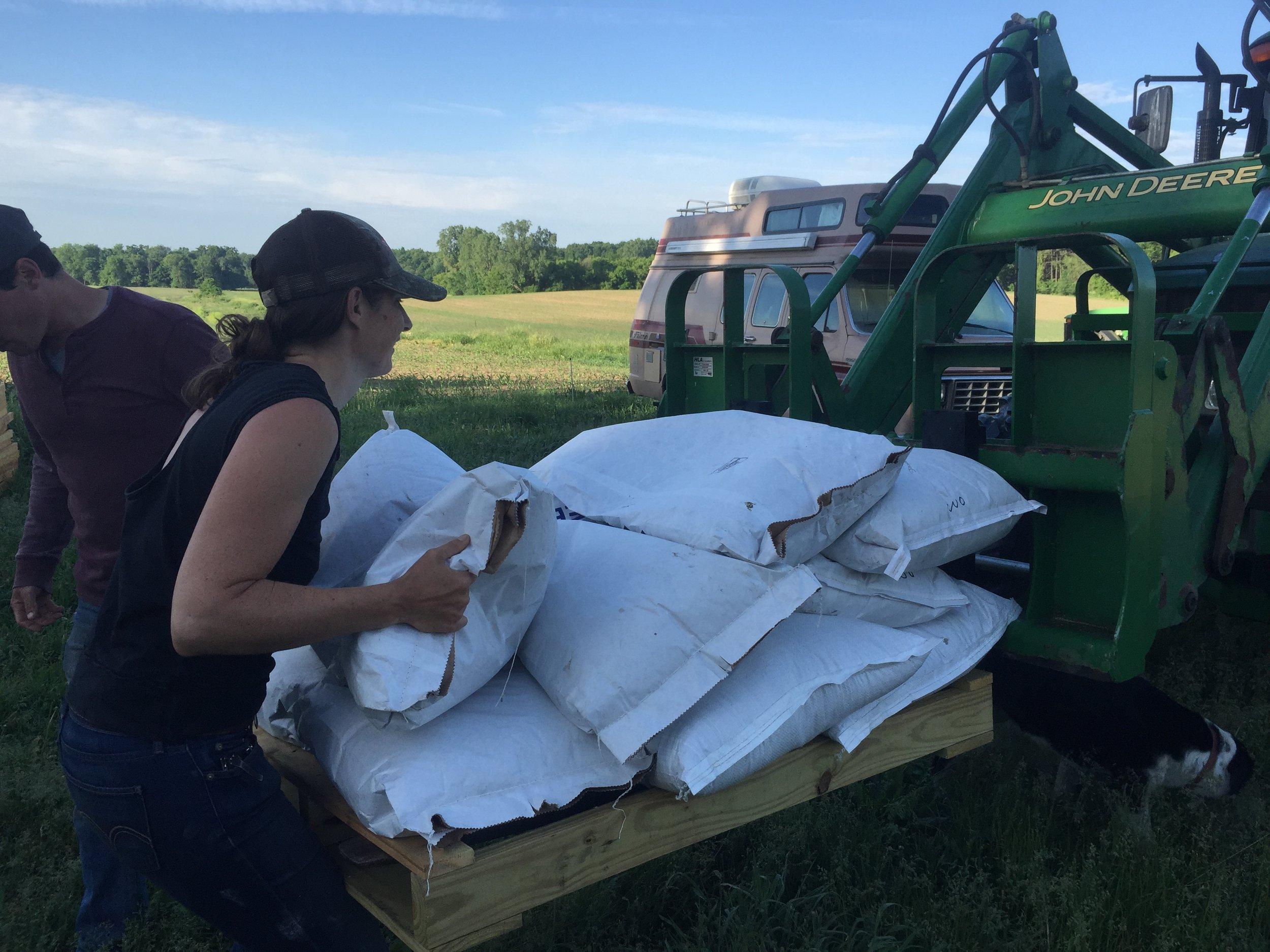 Loading up the oats.  We just used bin oats, and calculated about a bushel / acre.   The oats are to hold the soil and act as cover while the prairie seeds put down roots.