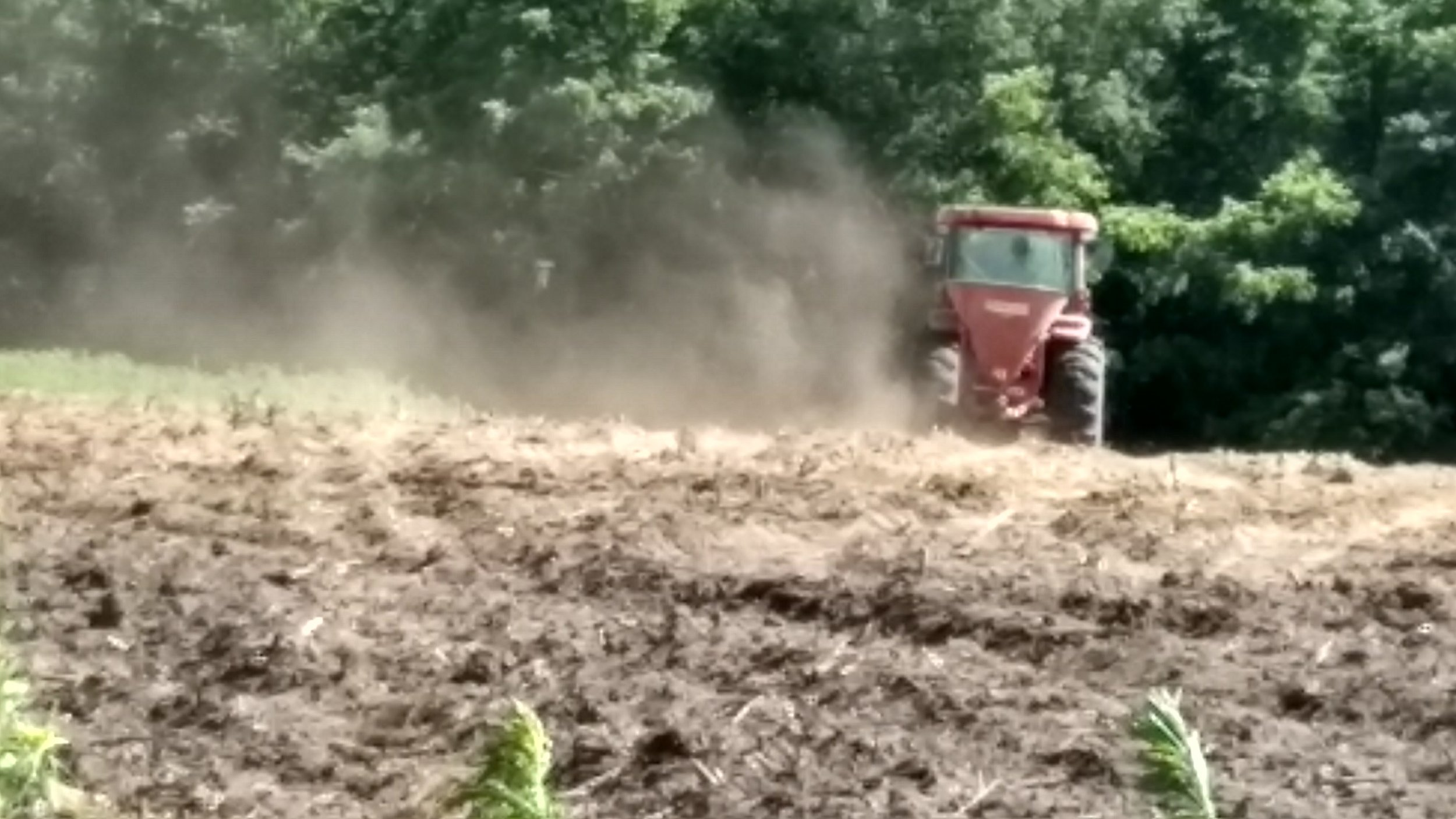 There were two acres of dry mix left to do - they were accidentally planted in corn last year. I like that we have planted in patches - we may have different things thrive.  We used the spreader on the surface again, and then came back over it with the cultipacker to flatten it, and push the seeds in.