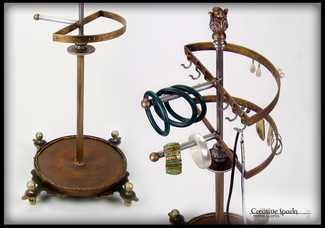 Victorian Inspired Jewelry Organizer Stand by Creative Sparks Metal Works