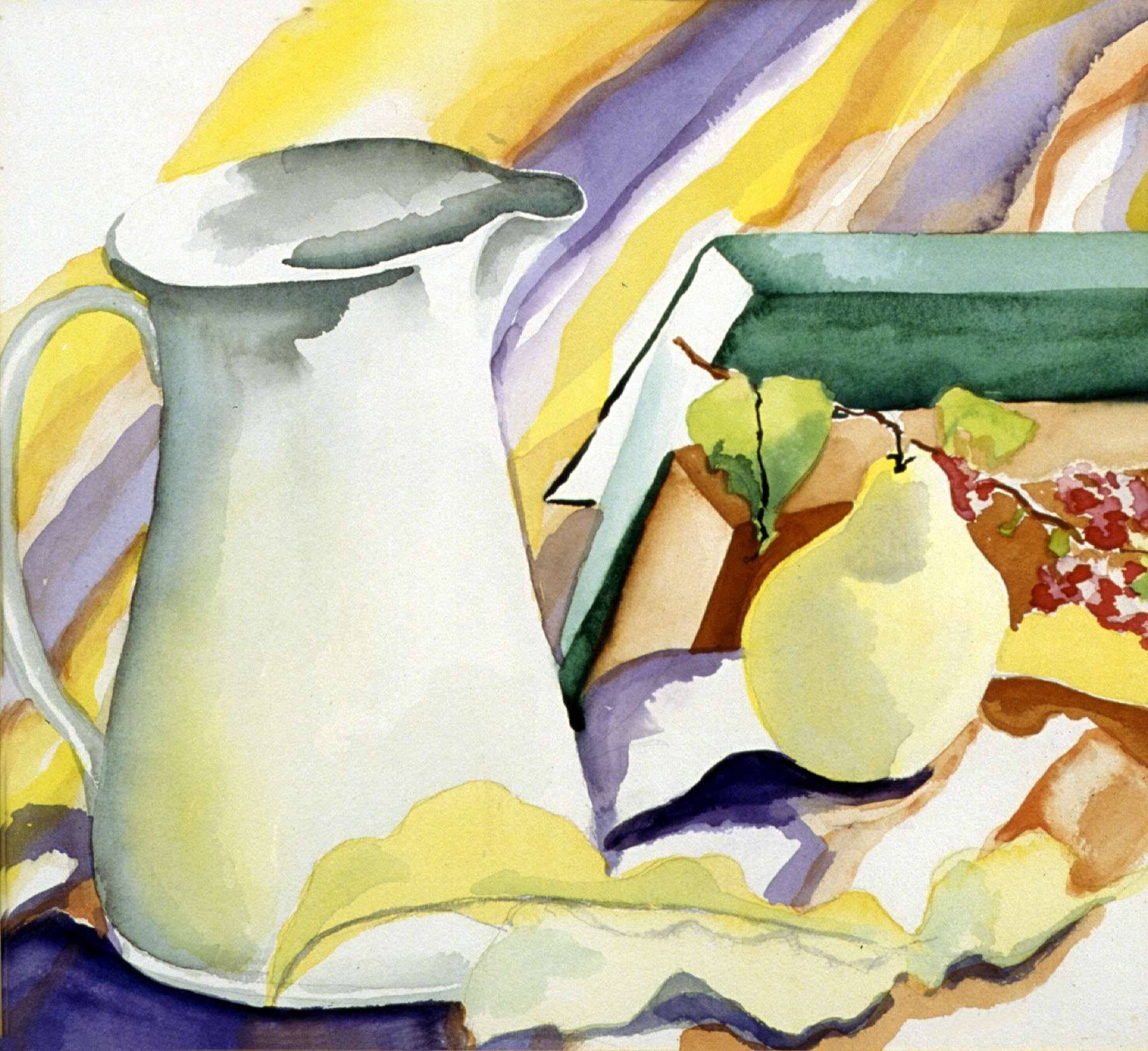 WHITE PITCHER WITH PEAR