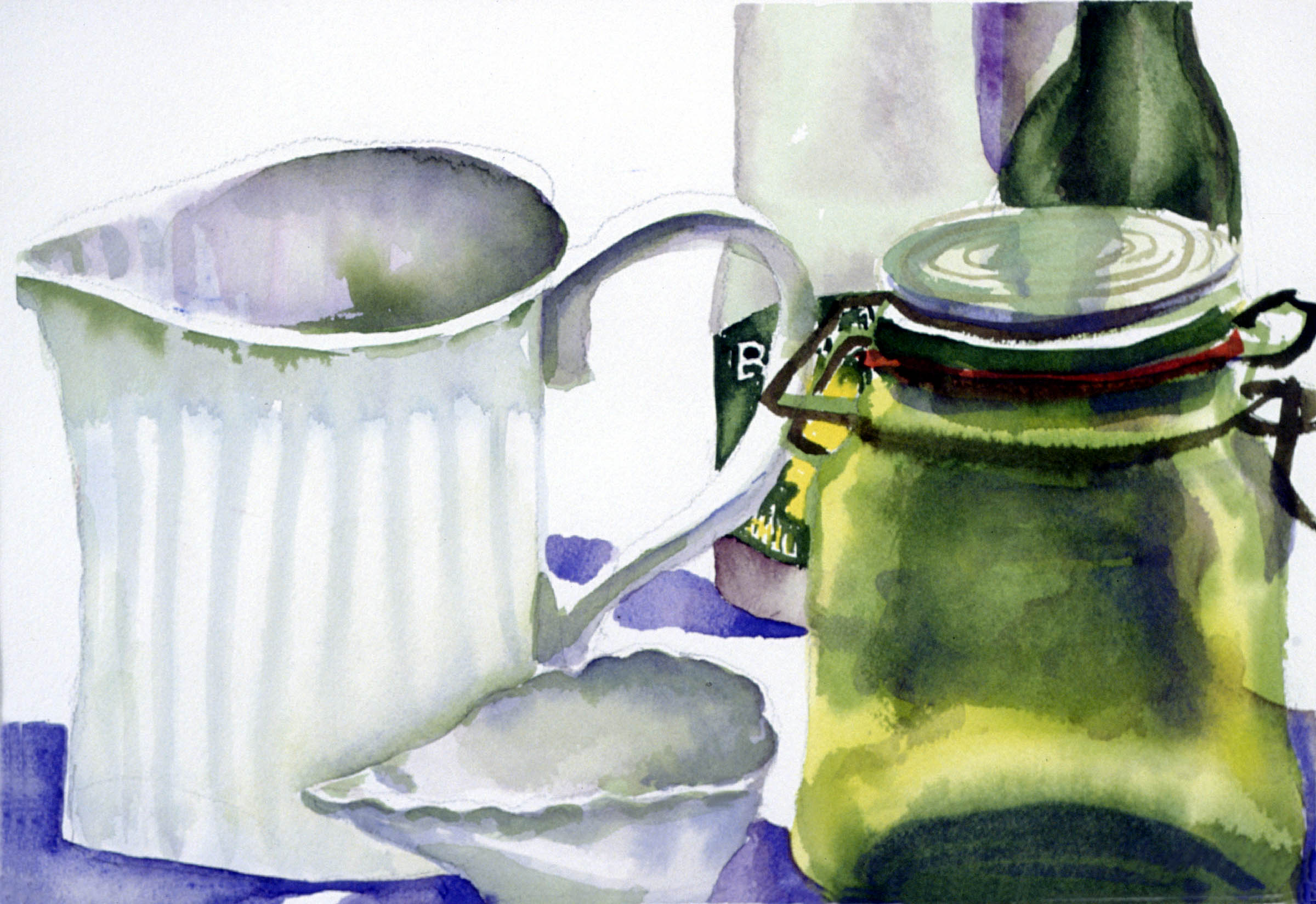 WHITE PITCHER WITH GREEN GLASS JAR