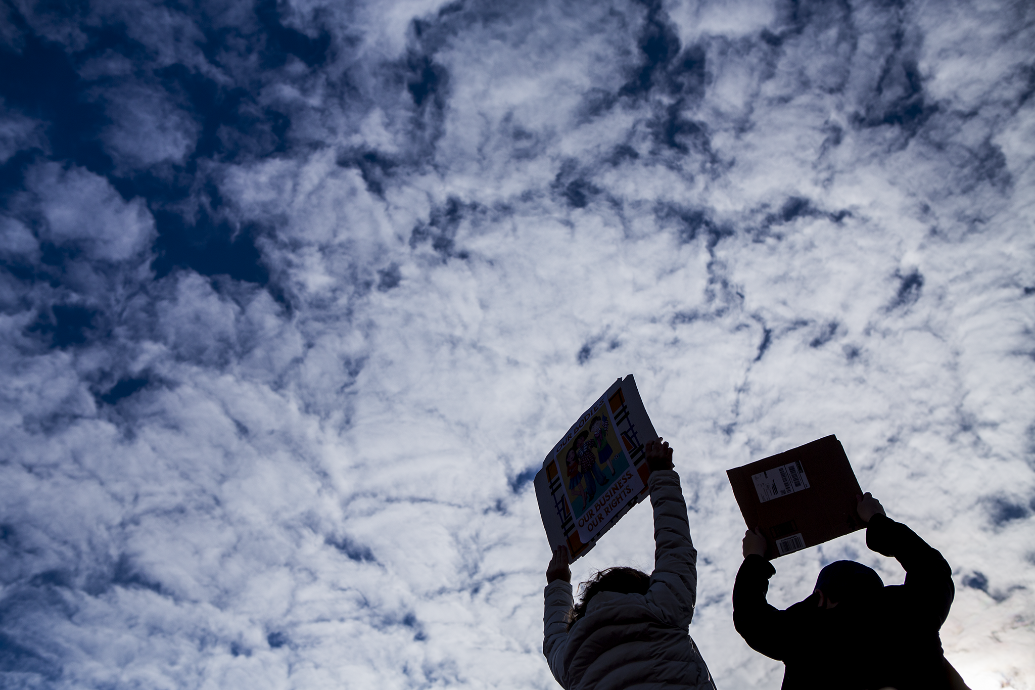 Two women hold up signs agains a patchy blue sky at the women's march on washington on Boston common