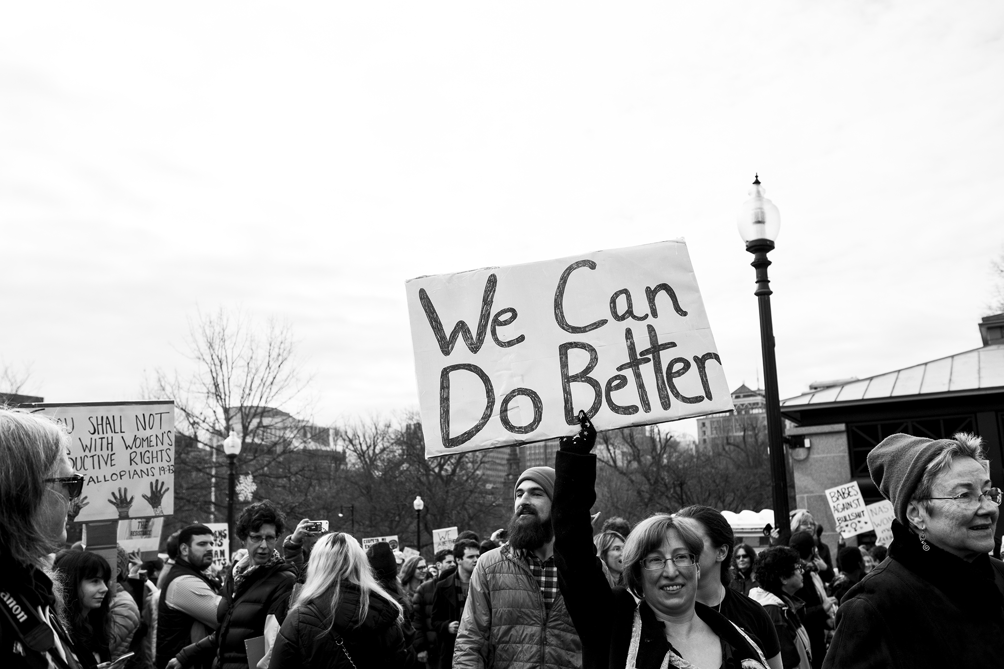 black and white image of women protesting donald trump