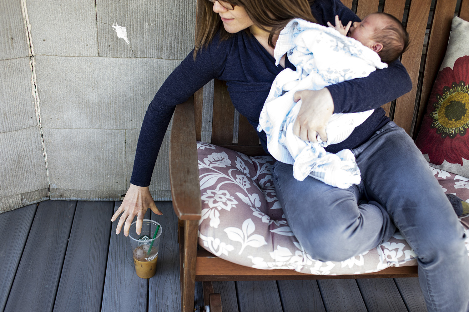 Newborn life requires coffee for this Boston mom.