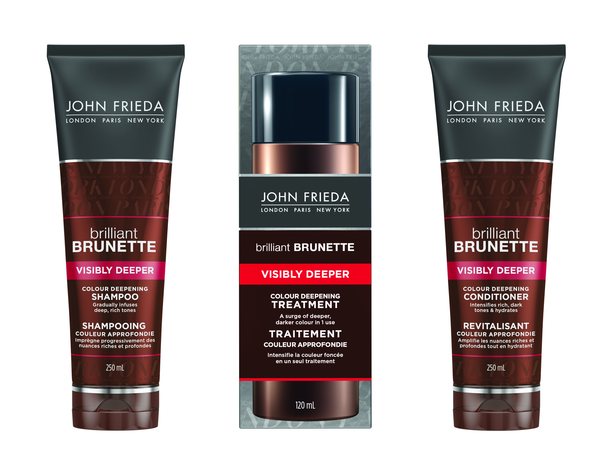 JOHN FRIEDA Brilliant Brunette Visibly Deeper Colour Deepening Treatment and Brilliant Brunette Visibly Deeper Colour Deepening Shampoo and Conditioner, $12.99 each. Available at drugstores & mass market retailers across Canada.