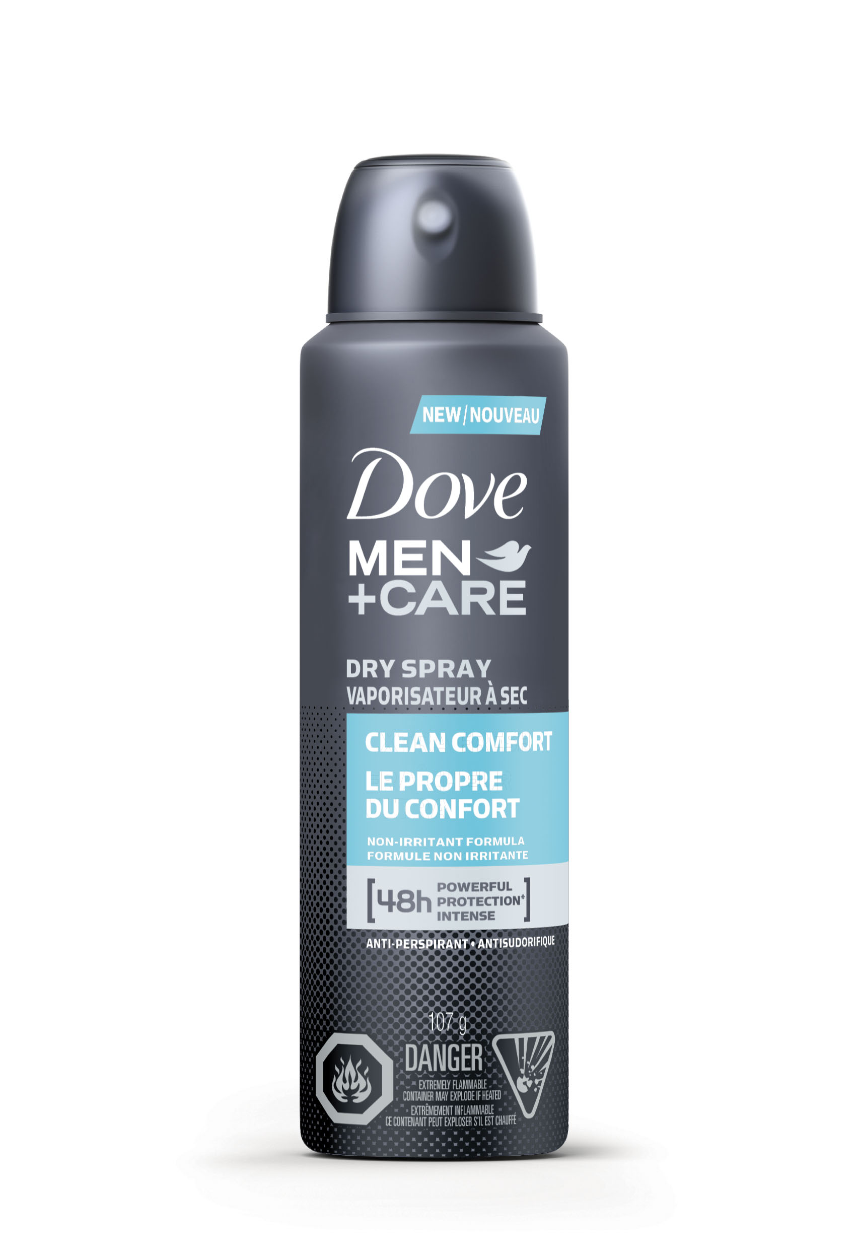 Dove Men + Care Clean Comfort Dry Spray Antiperspirant, $5.99. Available at drugstores.  Never stain your favourite shirt again - this spray goes on clear, dries instantly and stands up to 48 hours.