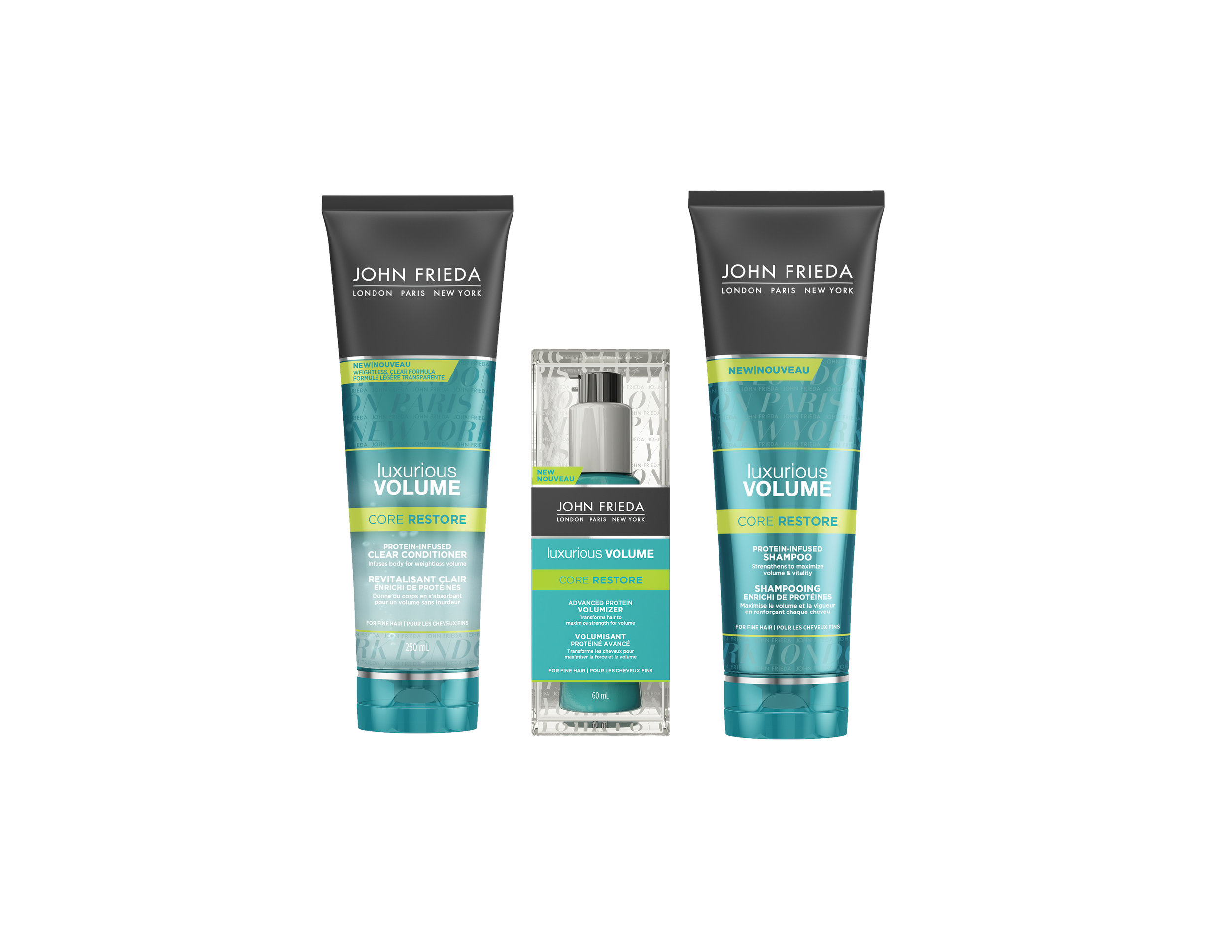 John Frieda Luxurious Volume Core Restore Collection. $10.97 - $12.99. Available at Mass retailers.
