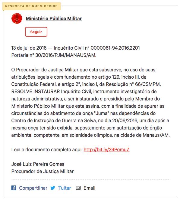 Resposta do MPM postada na própria página do abaixo-assinado (foto: Reprodução)