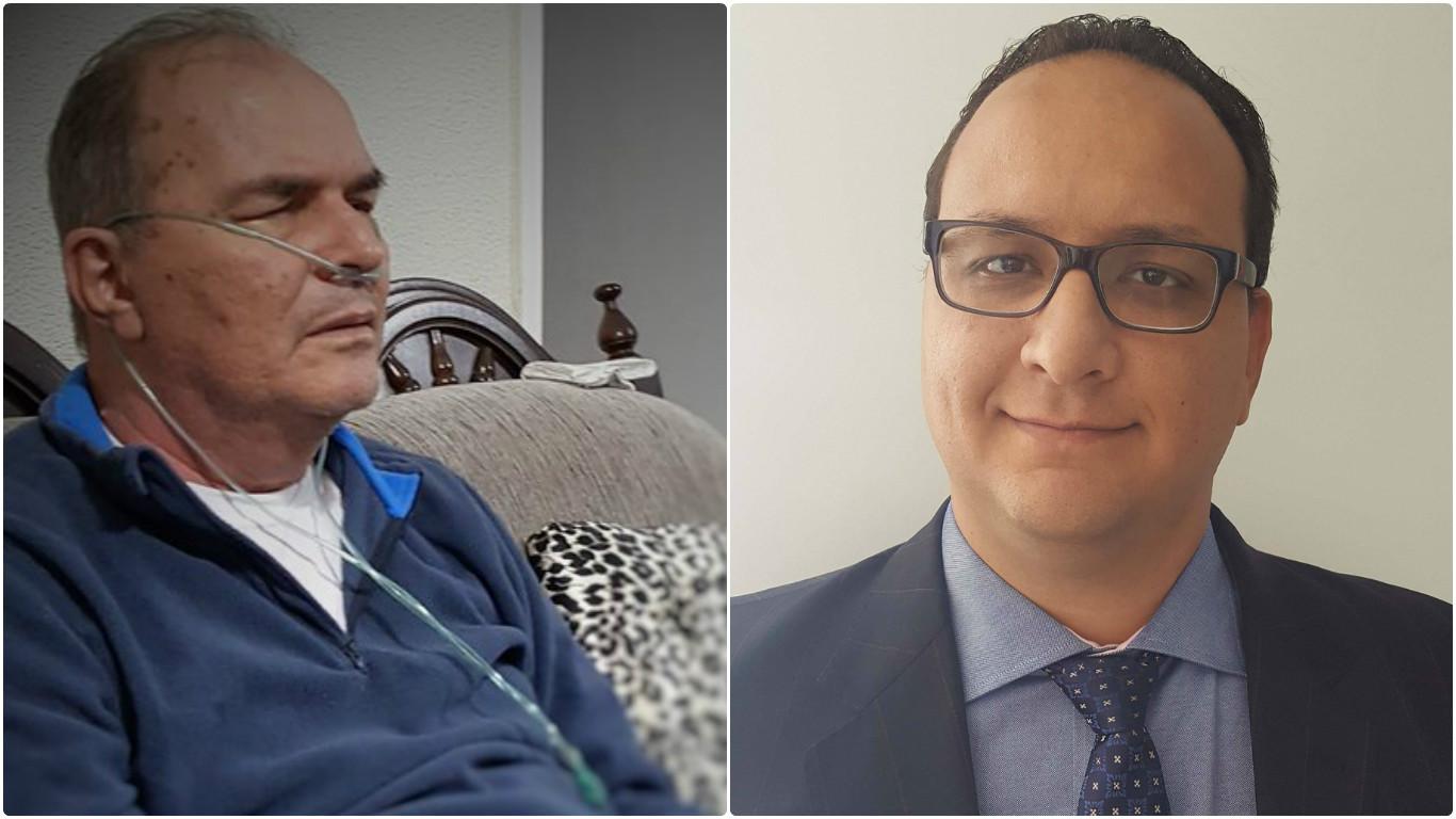 À esquerda, carlos, que precisa do medicamento; e à direita, fernando, que se mobilizou para ajudar o pai (crédito: arquivo pessoal)