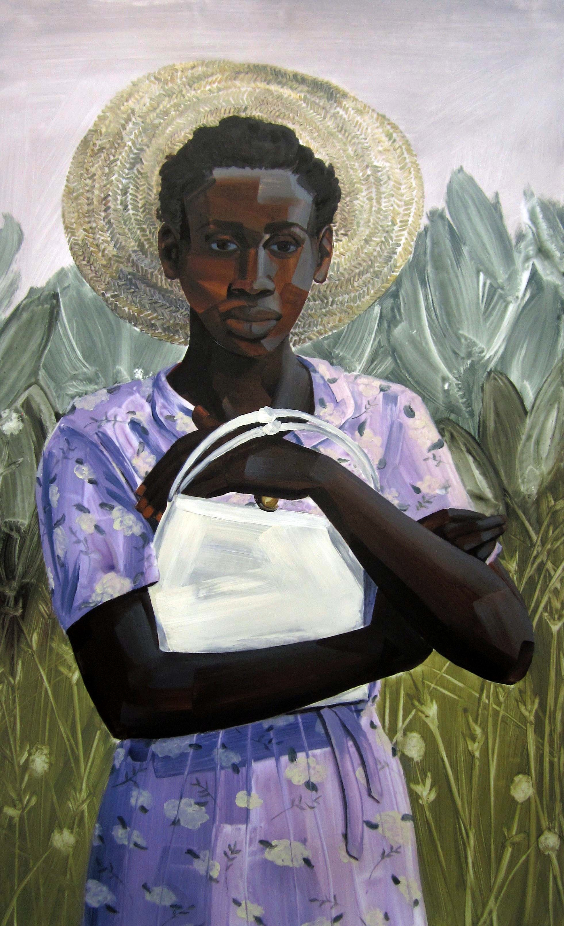 "Untitled (Salt, woman w/purse), 2013, acrylic on mylar, 40""X 25"""