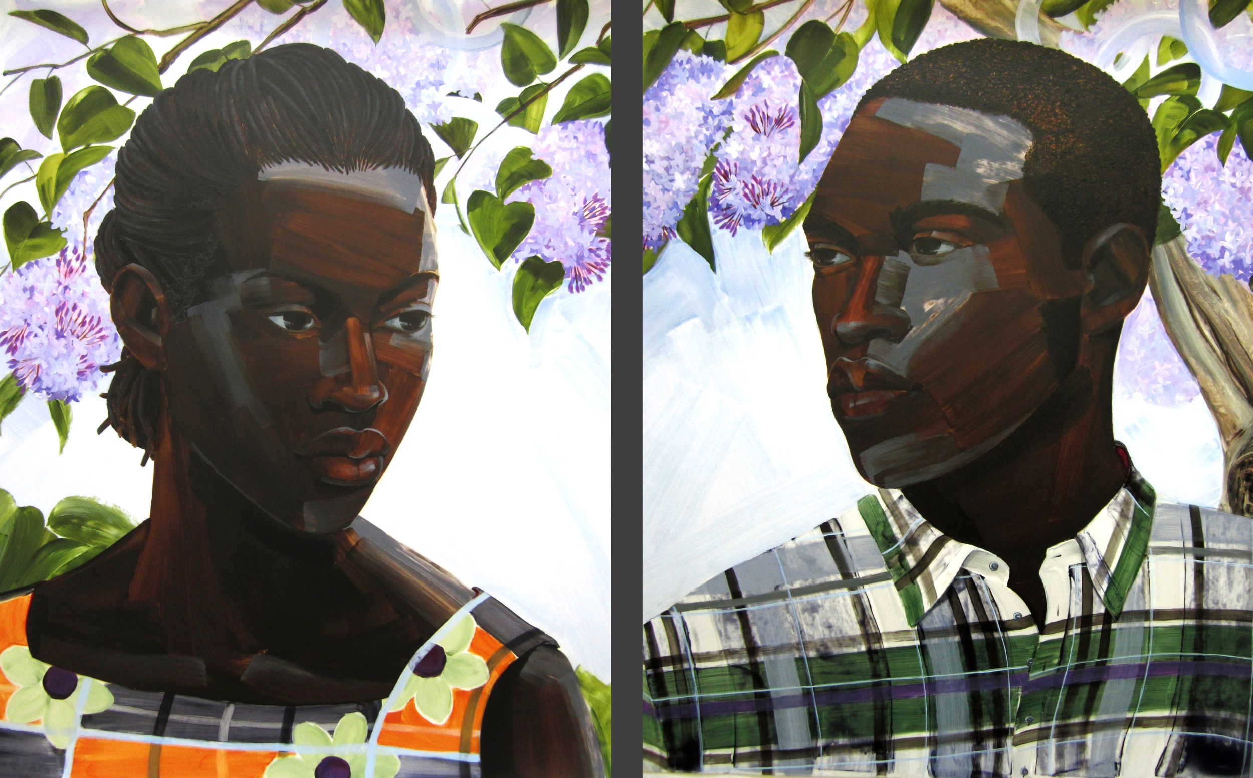 "Resplendent Flame (First Love, Ish & Isha), diptych, 2014, acrylic on mylar, 40"" X 33"" each panel."