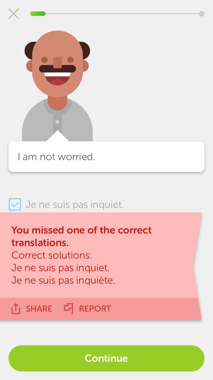"""Duolingo is telling me I missed to indicate the feminine version of """"I am not worried""""."""