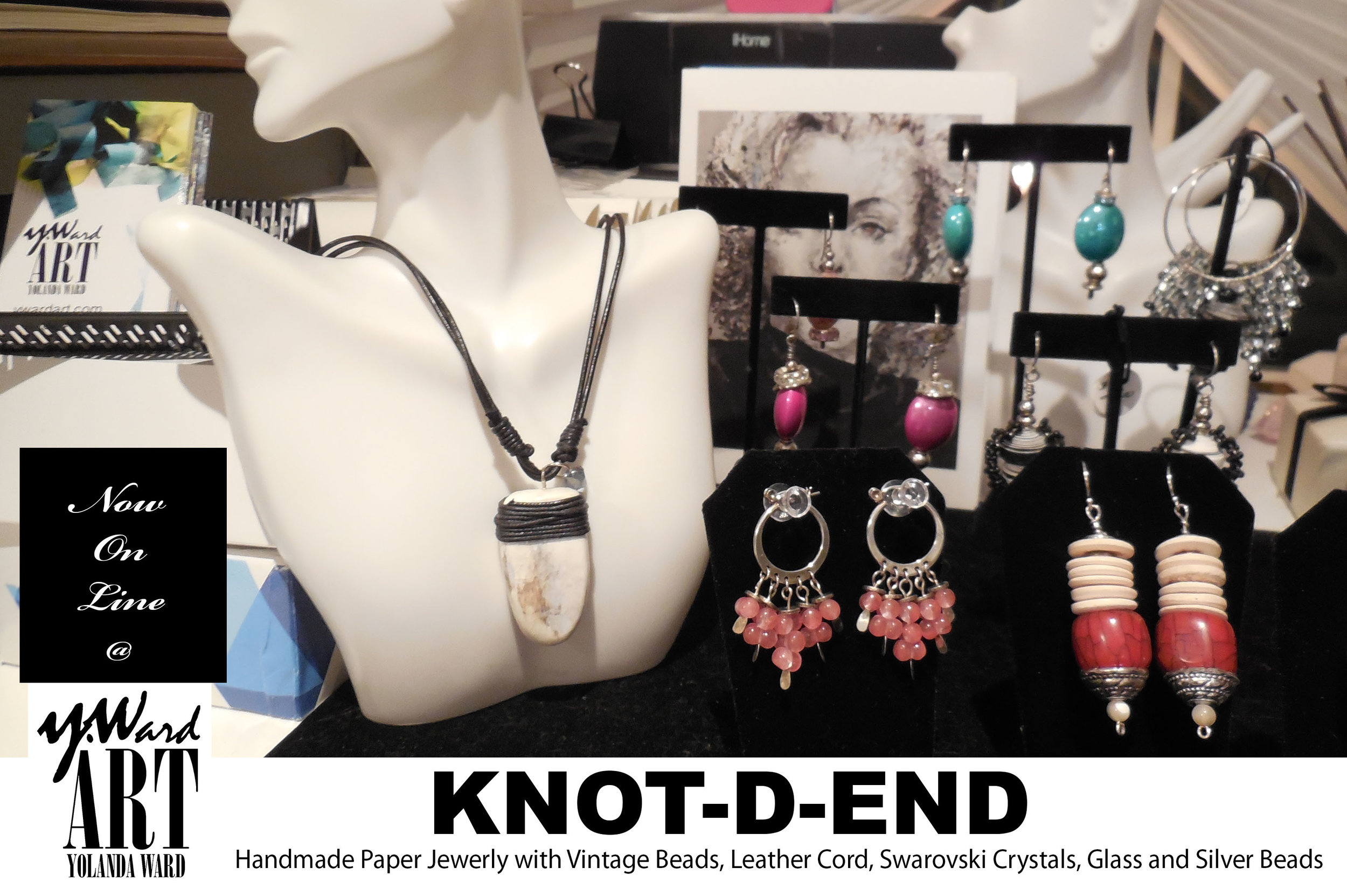 """My handmade paper jewelry line """"KNOT-D-END""""represents those of us who know an ending is really the beginning of something great! - Each piece is one of a kind, some made from rolled and/or sculpted paper. Each piece includes at least one or more accent bead, precious stone, Swarovski Crystals, vintage, seed or woven glass beads that complement each design.If you're looking for something different that represents you, shop here!"""