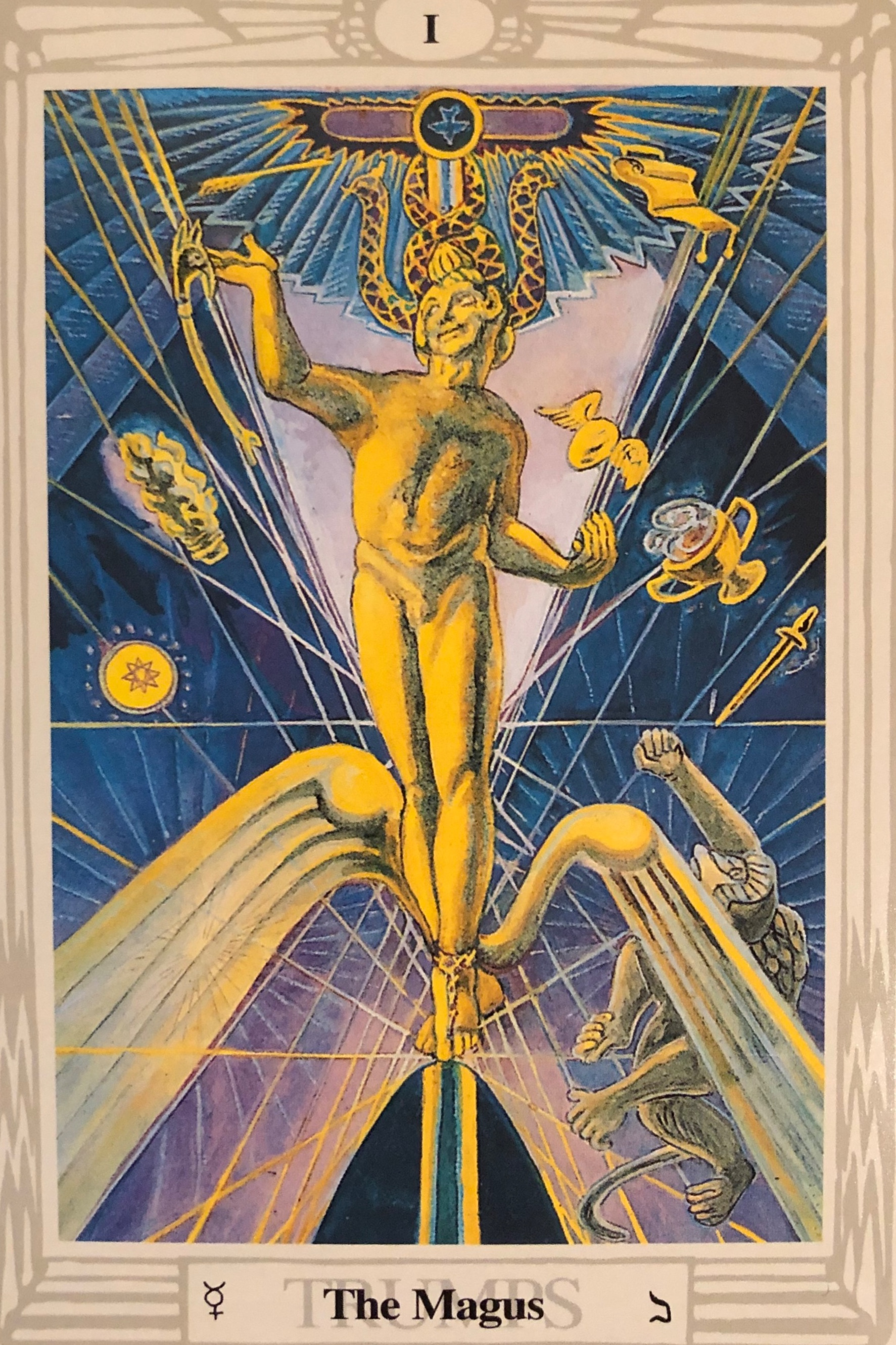 "The Magus - Mercury, Flexibility, Communication, New Beginnings, and Balance""The Magus is represented but the Greek God Mercury, the messenger with wings of pure spirit. Mercury bears energy which spreads and radiates from him. This card represents Will, Wisdom and the Word through which the world was created."