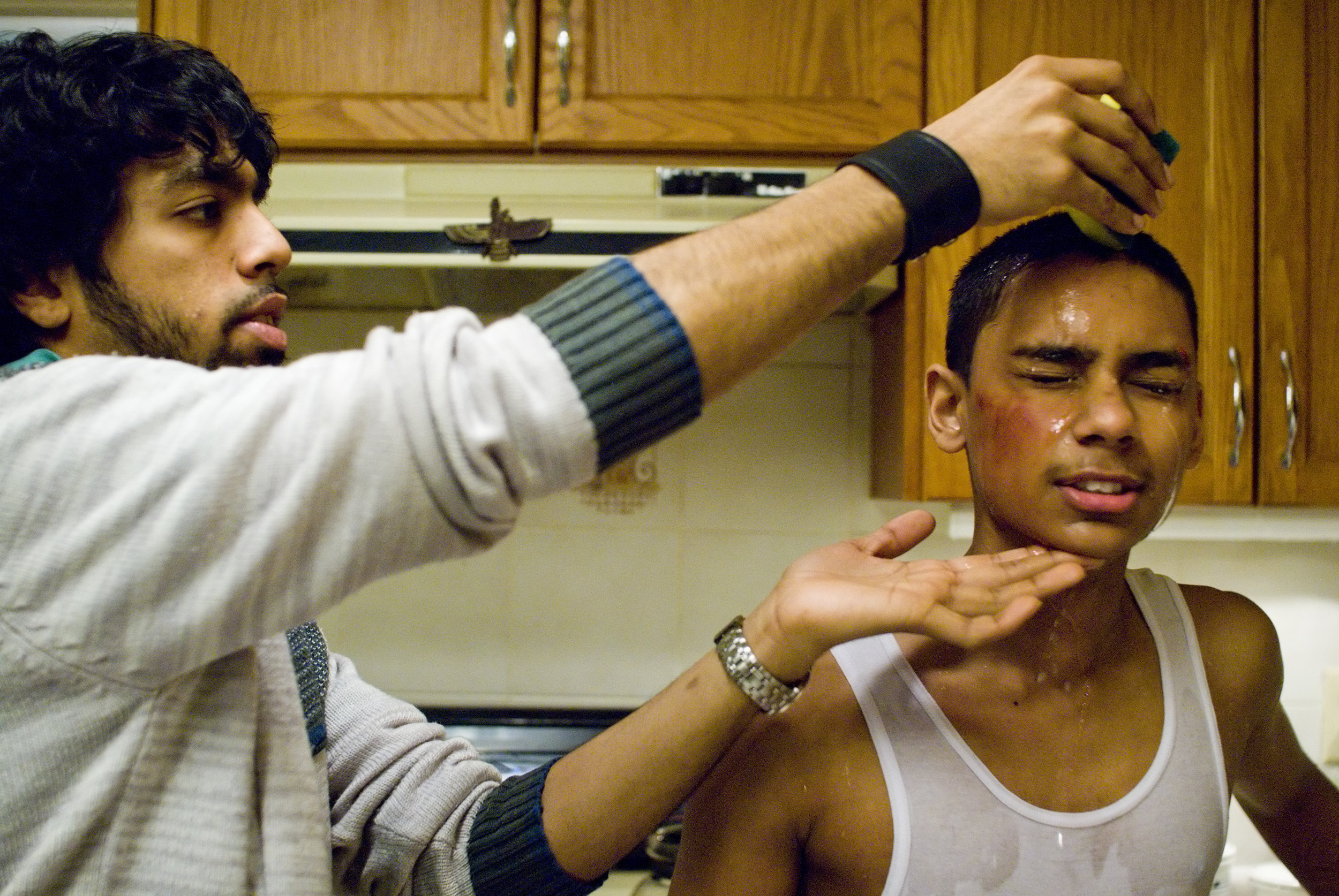 First Assistant Director Darrell Faria and Ryan Persaud on the set of  Karim  (2007).