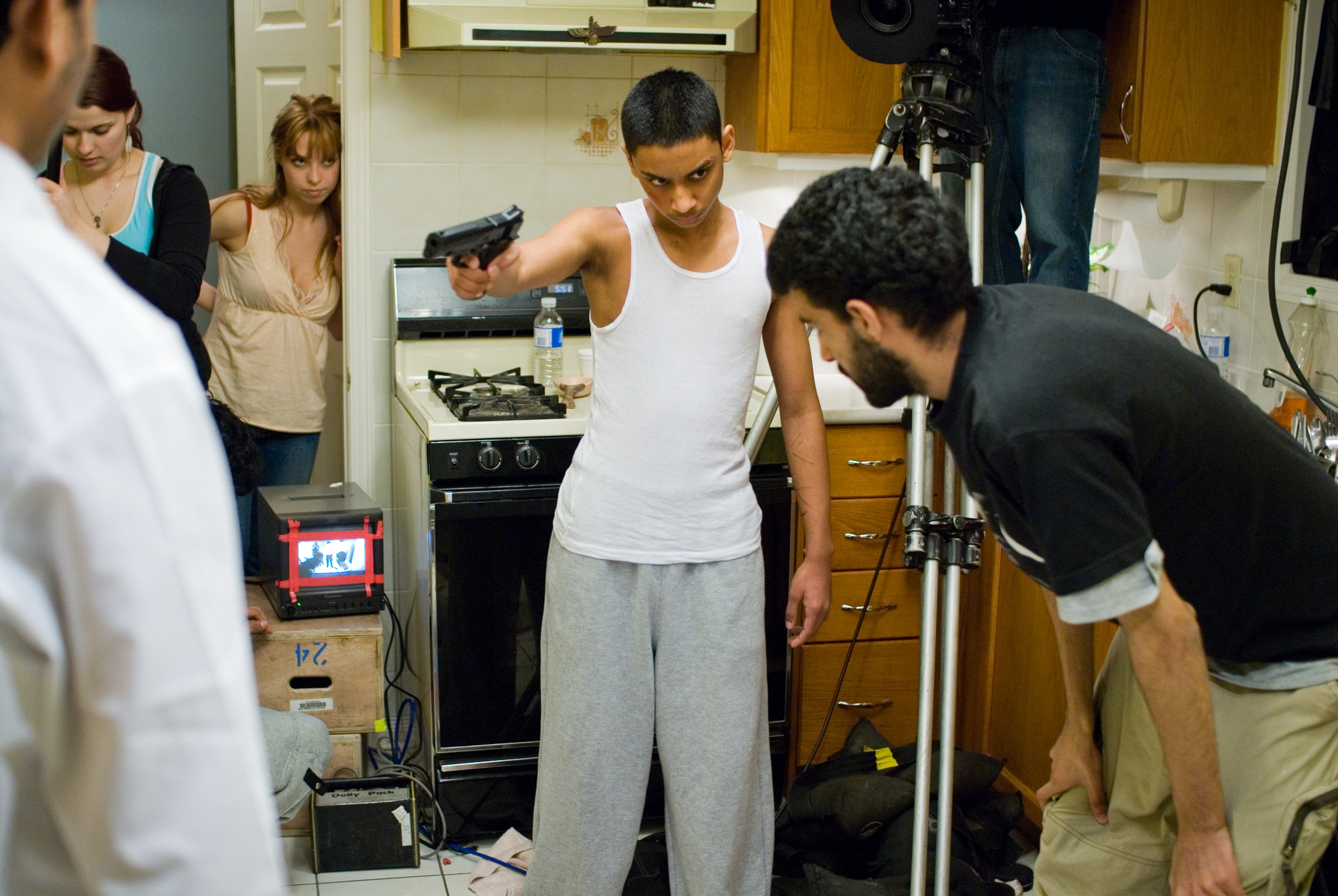 Ryan Persaud and Director Yaz Rabadi on the set of  Karim  (2007).