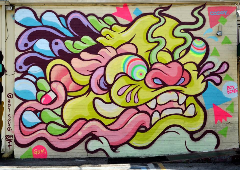 Boy Kong mural, Pho Hoa, 649 E. Primrose Drive
