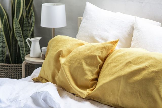 Mustard is the colour of the season, bright and wonderful as an accent on a neutral bed.⠀⠀⠀⠀⠀⠀⠀⠀⠀ --⠀⠀⠀⠀⠀⠀⠀⠀⠀ We also now have @afterpay! So hit the link in our bio to shop now. Photo by @phoebepowellphoto