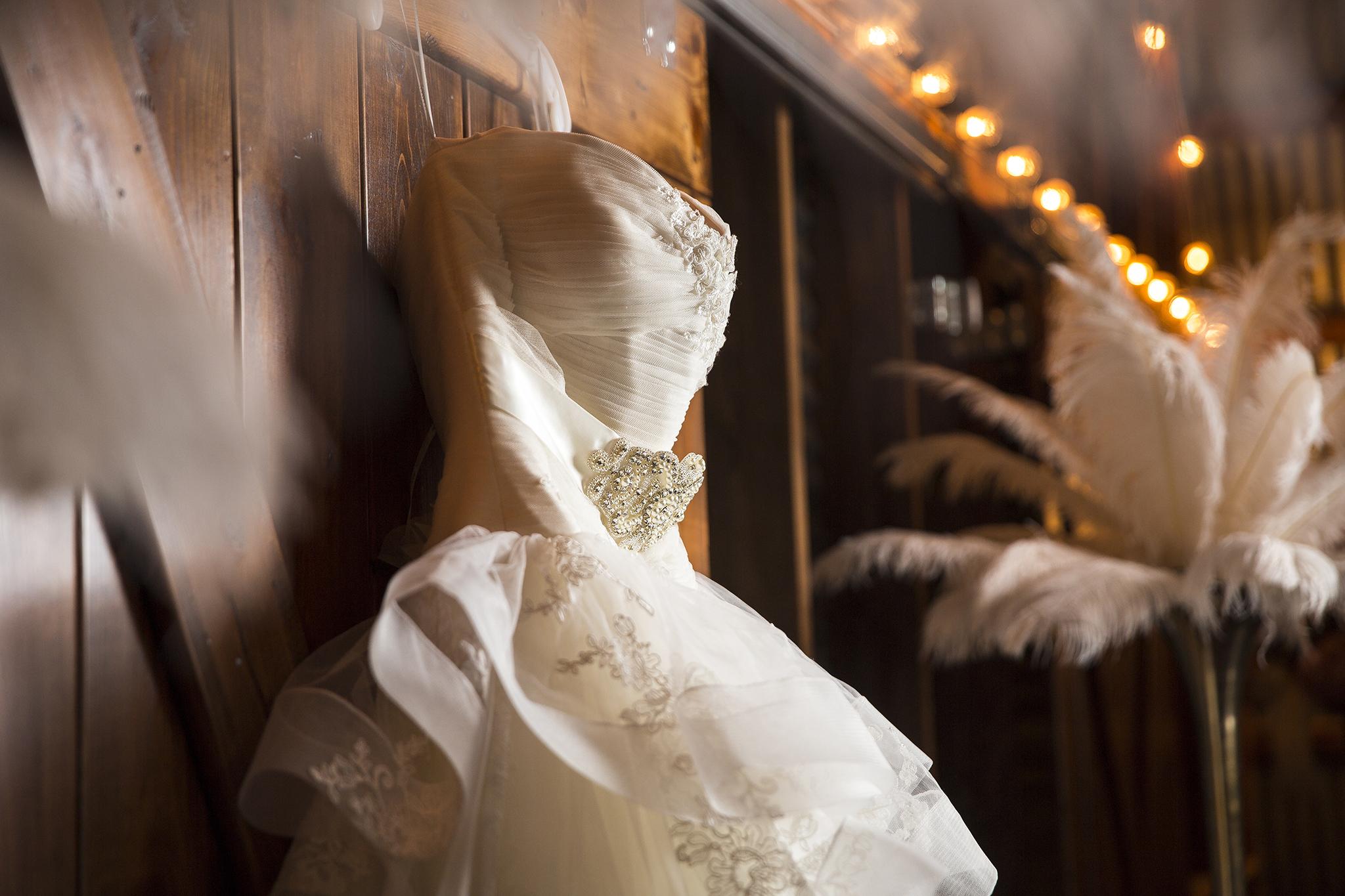 Walnut Tree Weddings, Olton, Wedding Dress, Barn Door, Warm Lighting