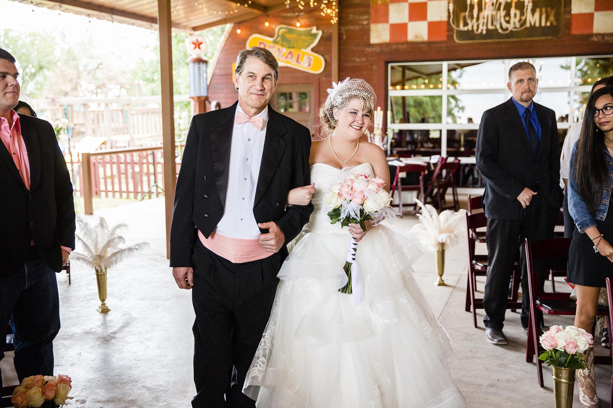 Walking down the aisle, Walnut Tree Weddings, Father of the Bride, Bride, Veil
