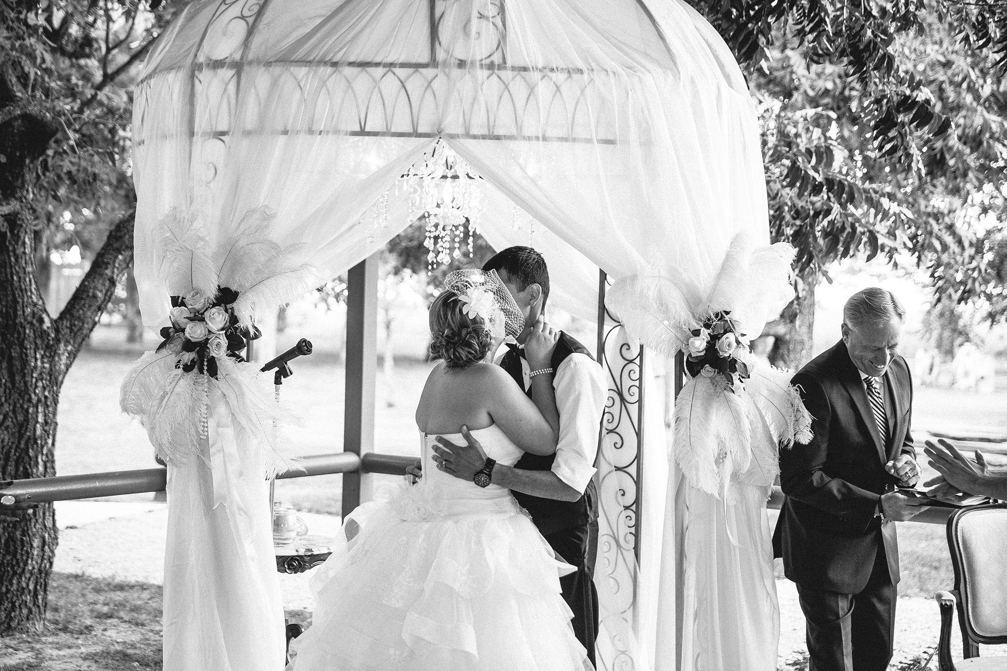 First Kiss, Ceremony, Romantic, Walnut Tree Weddings