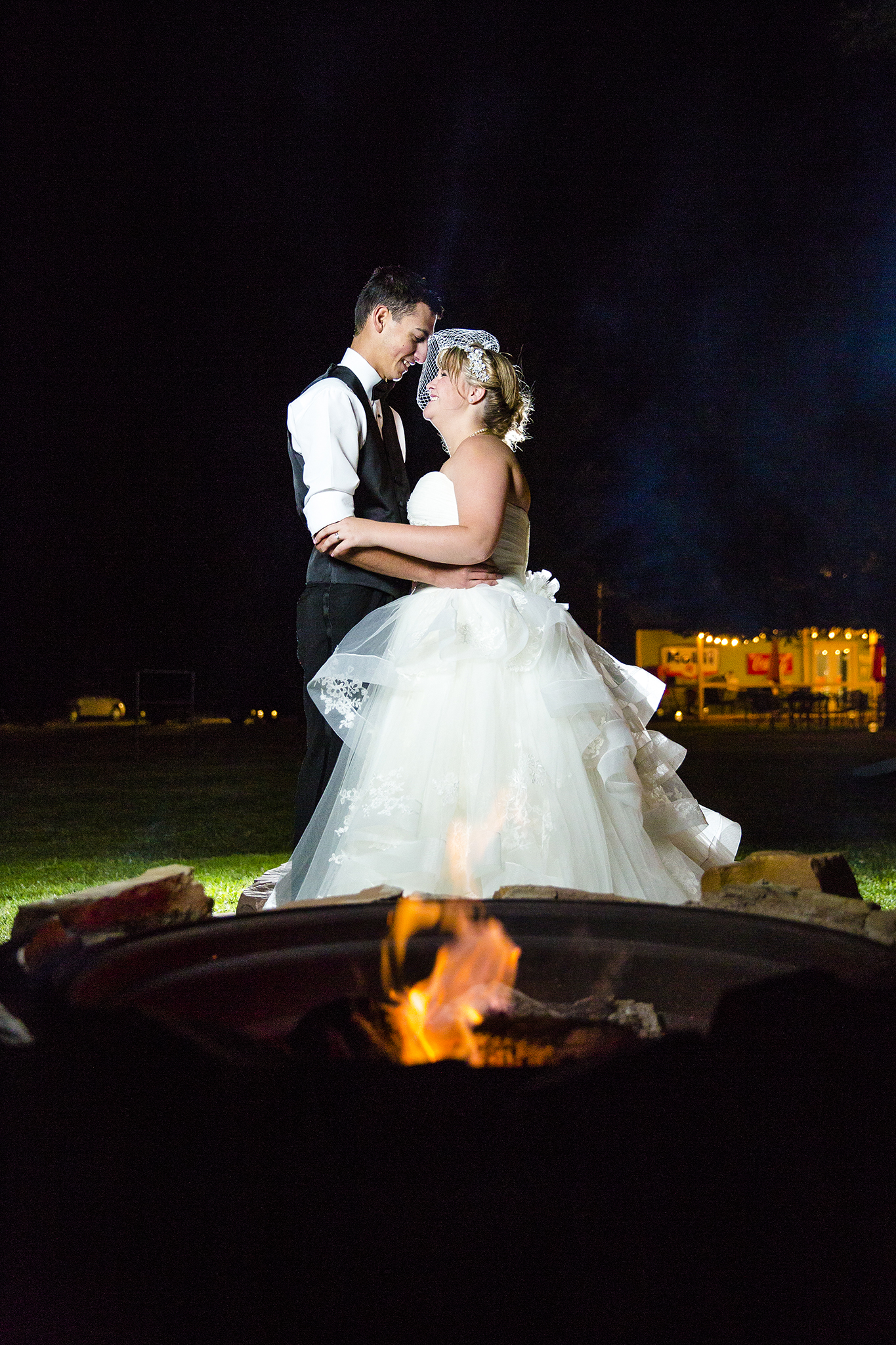 Fire Pit, Bride and Groom, Night Portraits, Dramatic, Edgy, Creative
