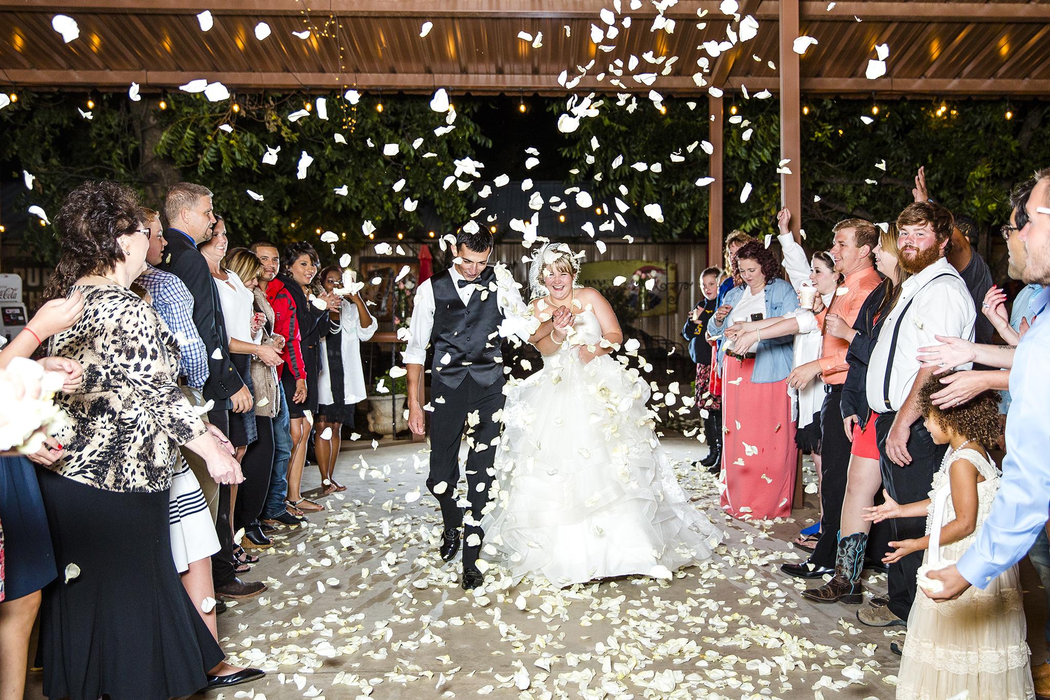 Flower Pedals, Exit, Walnut Tree Weddings, Honeymoon, Bride and Groom