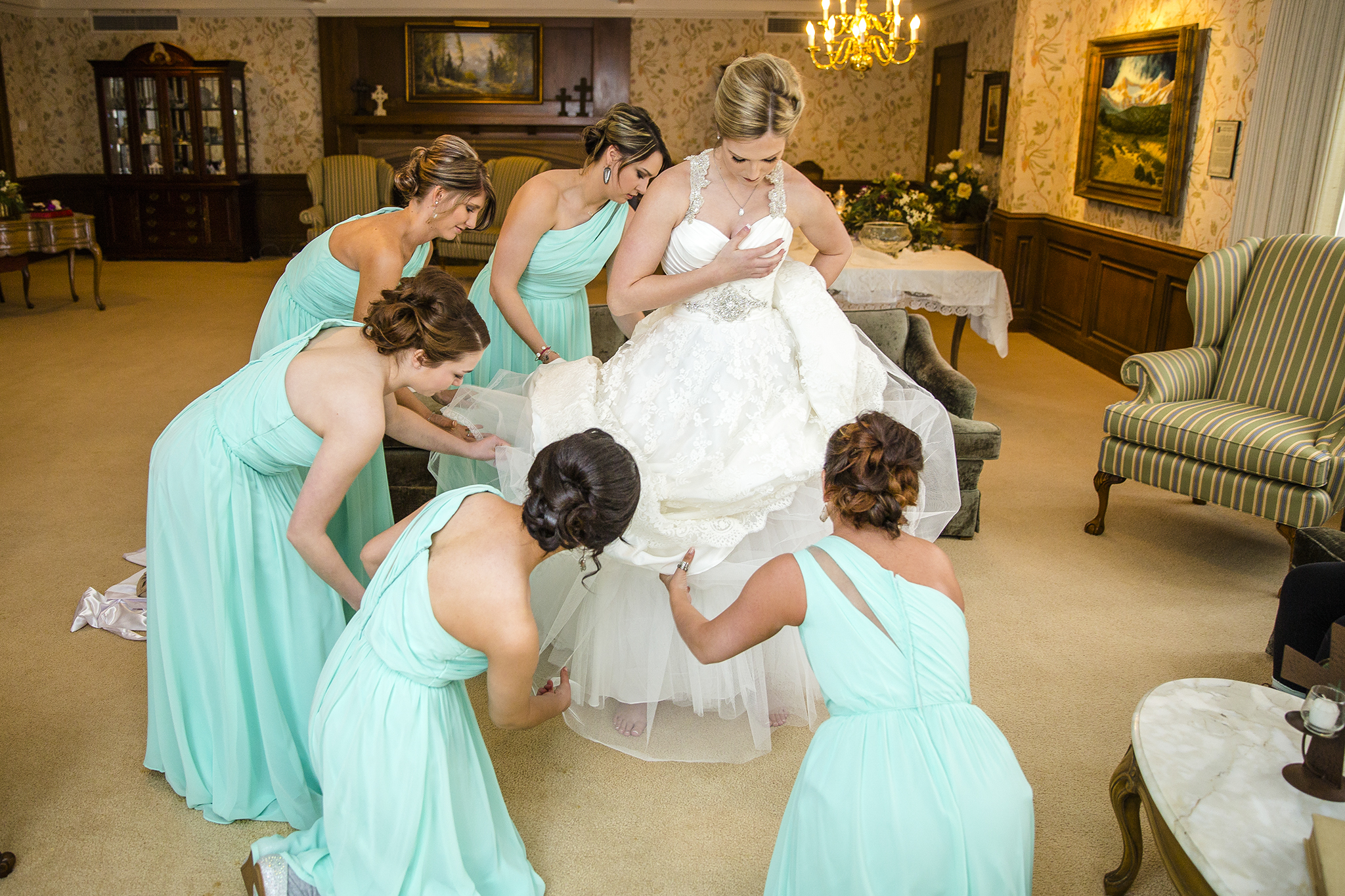 group effort, bridesmaids, wedding dress, getting ready