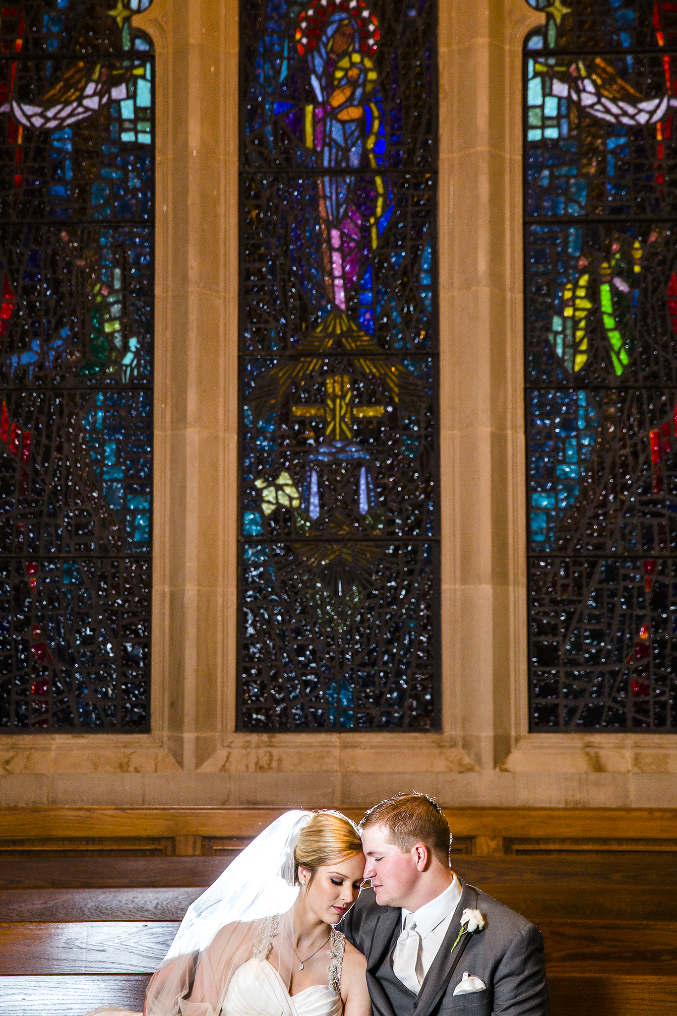 bride and groom portraits, stained glass windows, veil, romantic, sweet, love