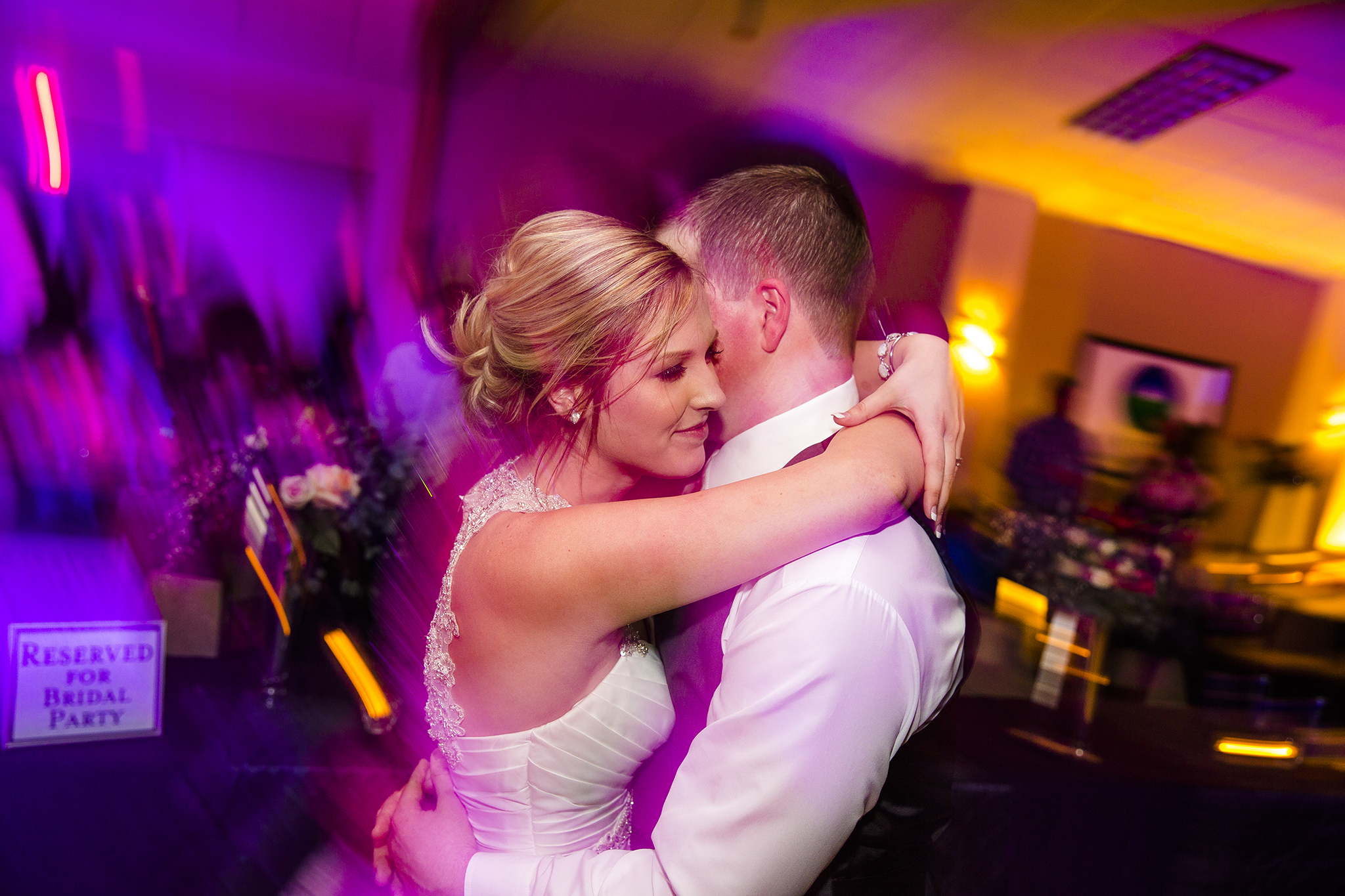 long exposure, colorful, bride and groom, wedding reception, fun dance pictures