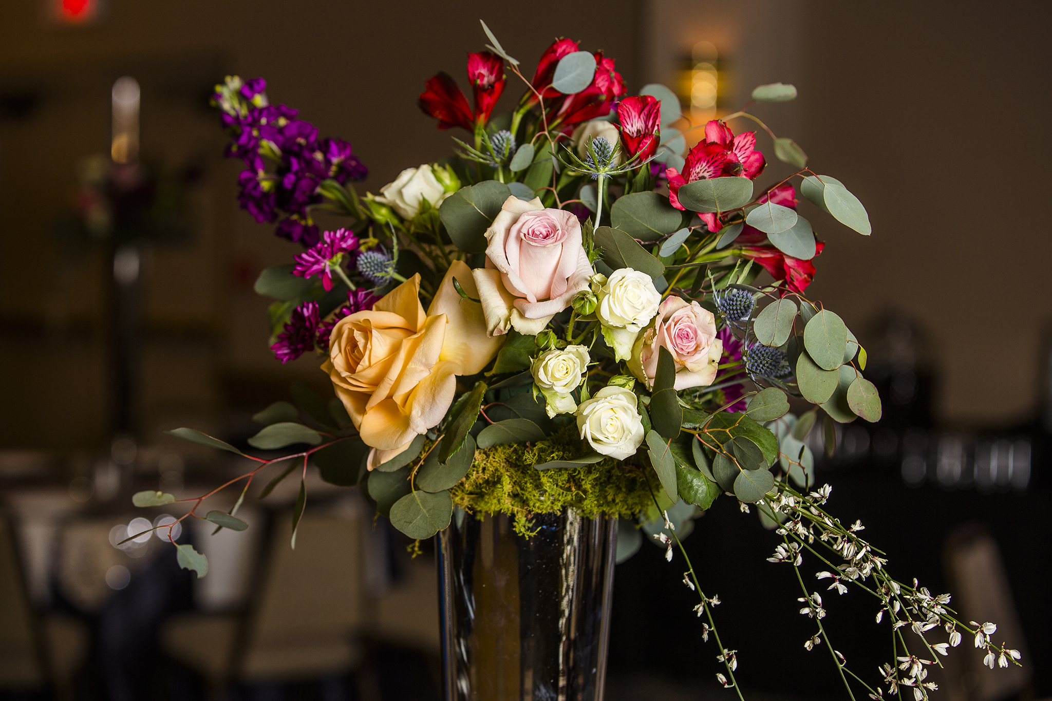 reception flowers, wedding reception, southern elegance design
