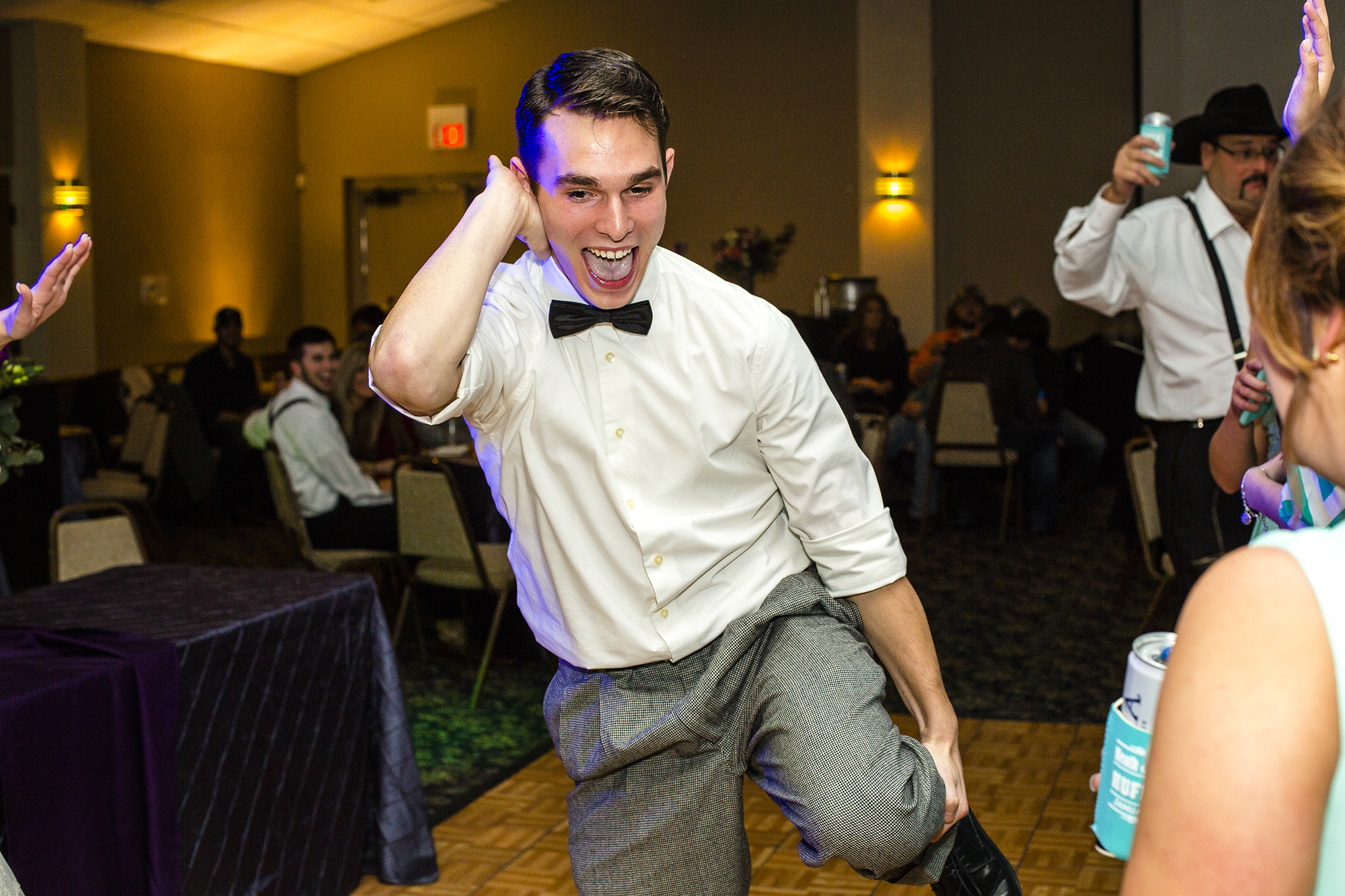 dancing, bow tie, wedding reception
