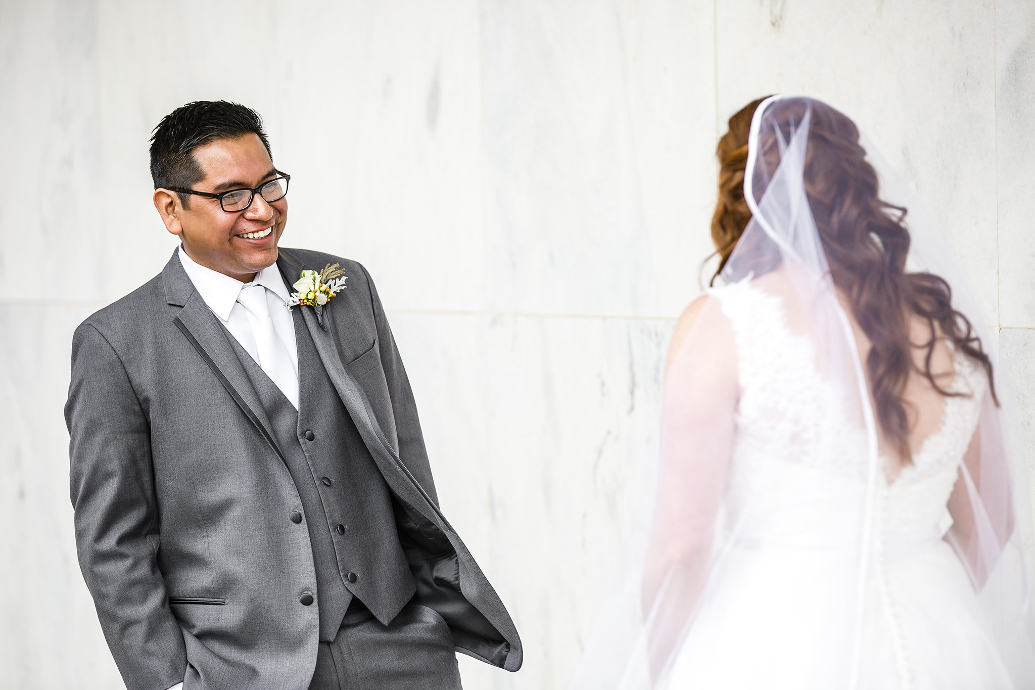 bride and groom, first look, priceless reaction, lubbock texas