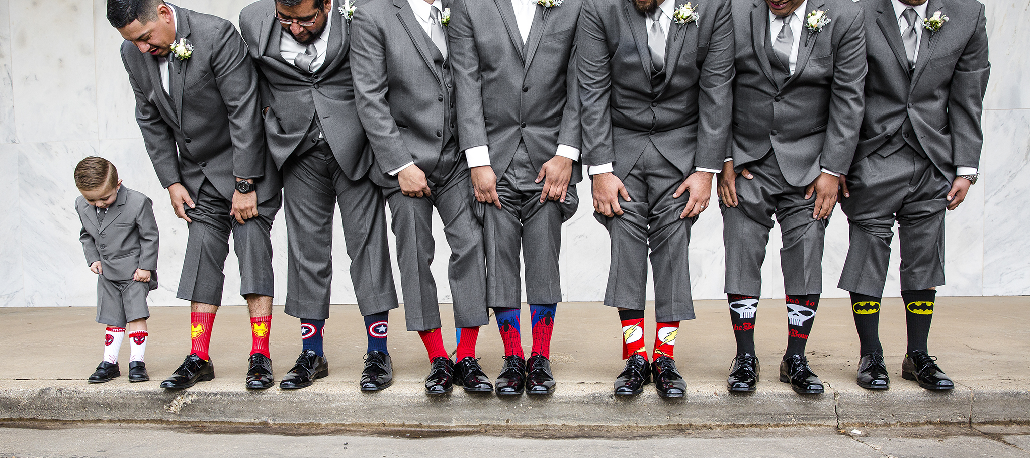 superhero socks, spiderman, iron man, cute wedding details