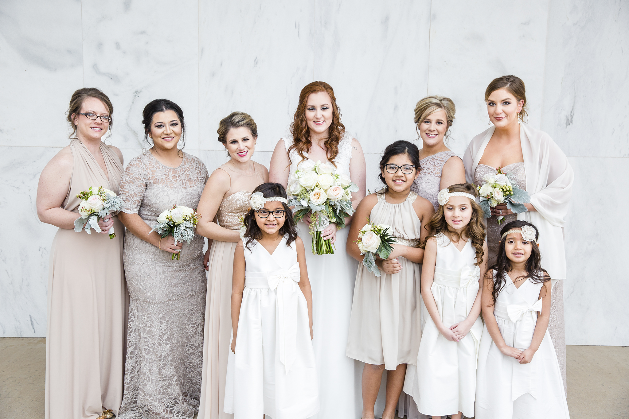 bridal party, bridesmaids, wedding day portraits, mother and daughters