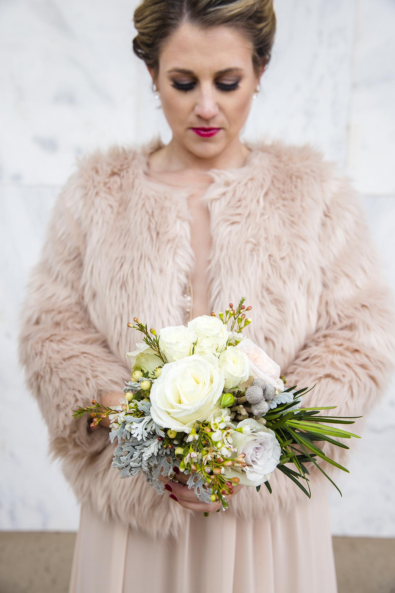 bride's bouquet, fur, january weddings, beautiful wedding details, sister of the bride