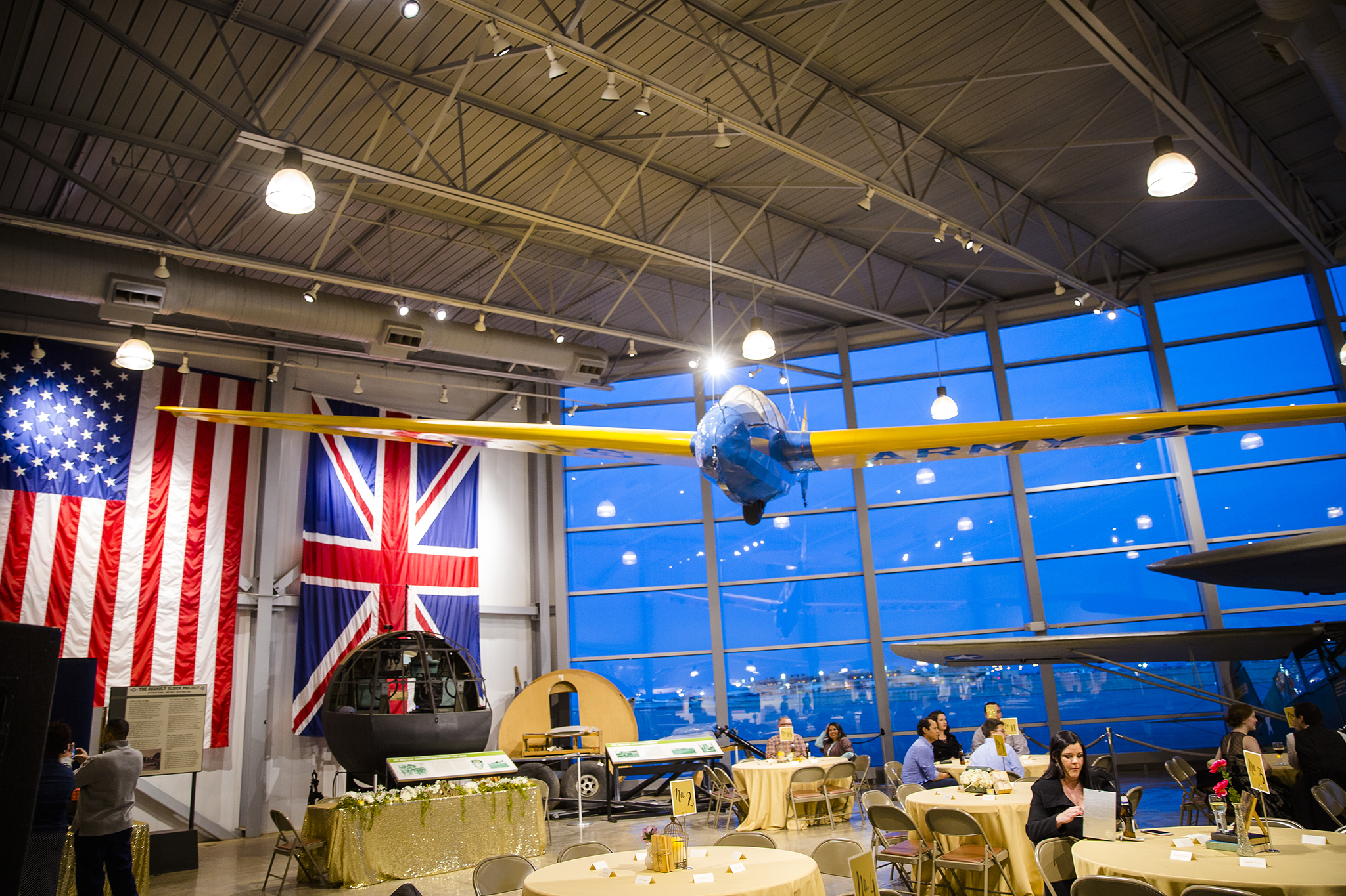 america and britain, the allies, world war II, wedding reception, silent wings museum lubbock texas