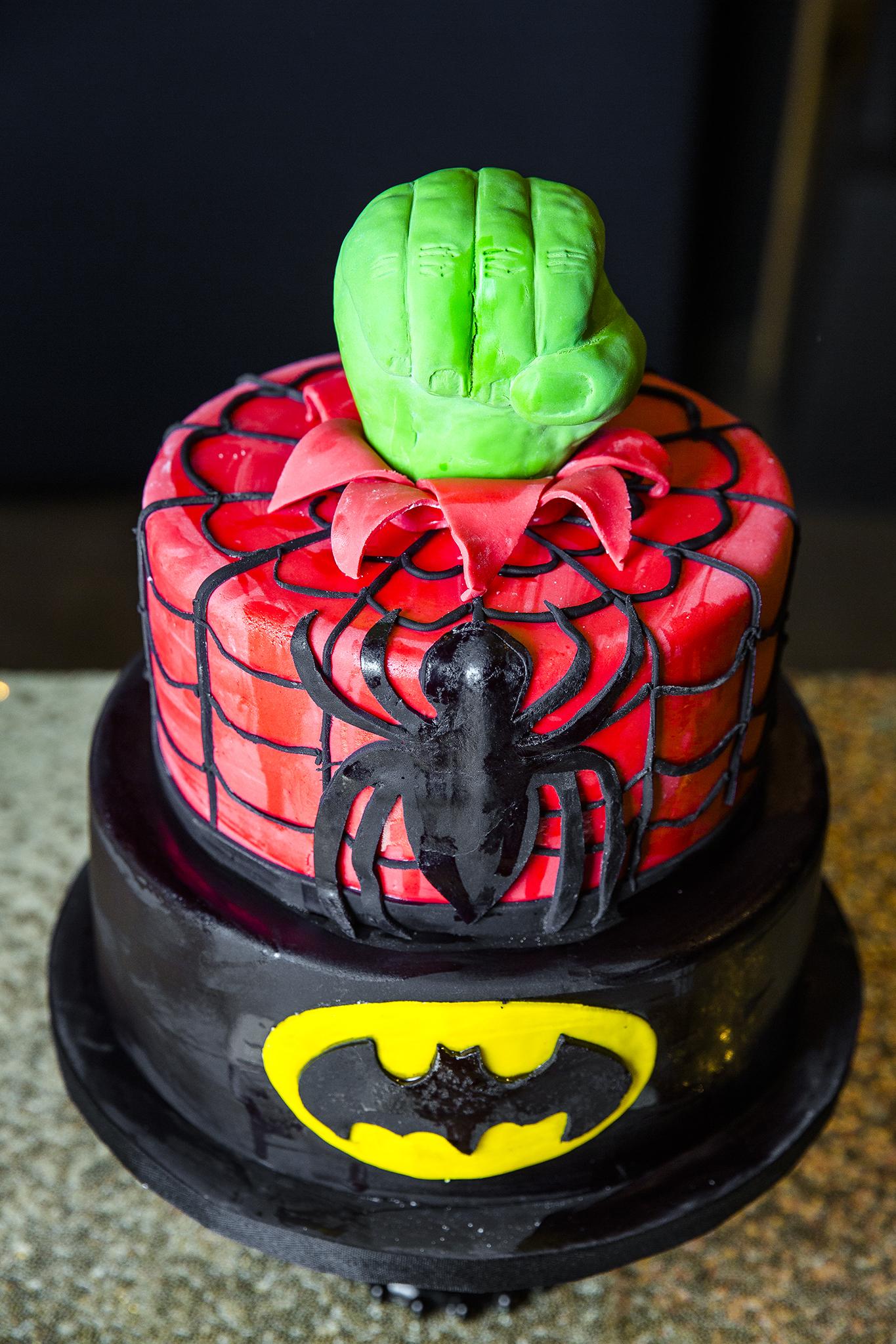 superhero cake, hulk, spiderman, batman, creative wedding cakes