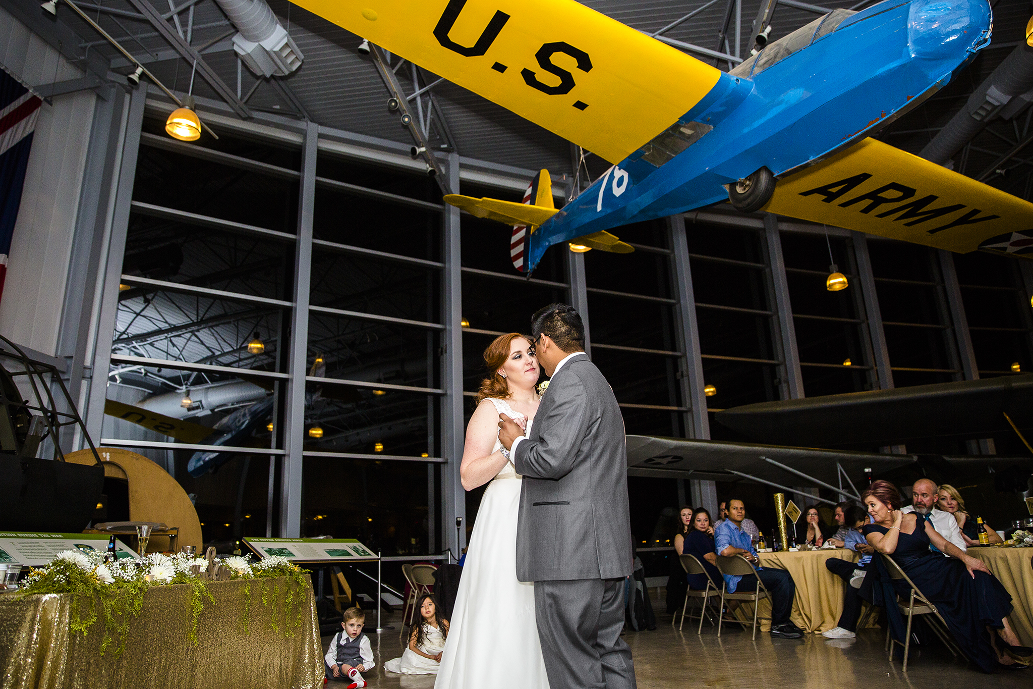 first dance, bride and groom, wedding reception silent wings museum lubbock texas