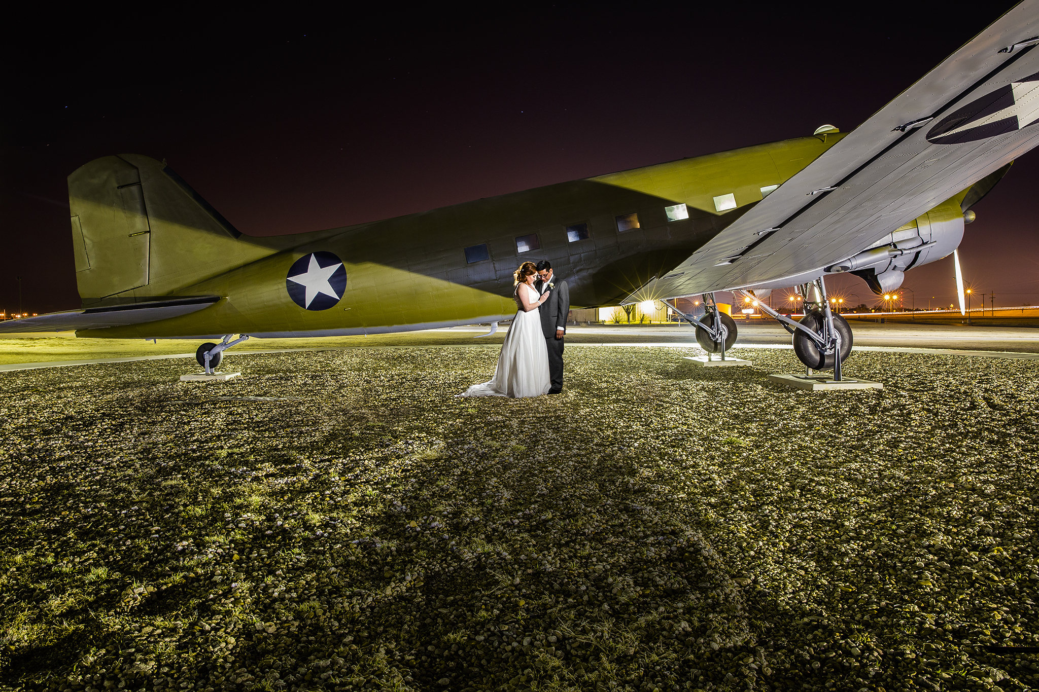 composite, world war II, lubbock silent wings museum, dramatic, edgy, creative, wedding portraits