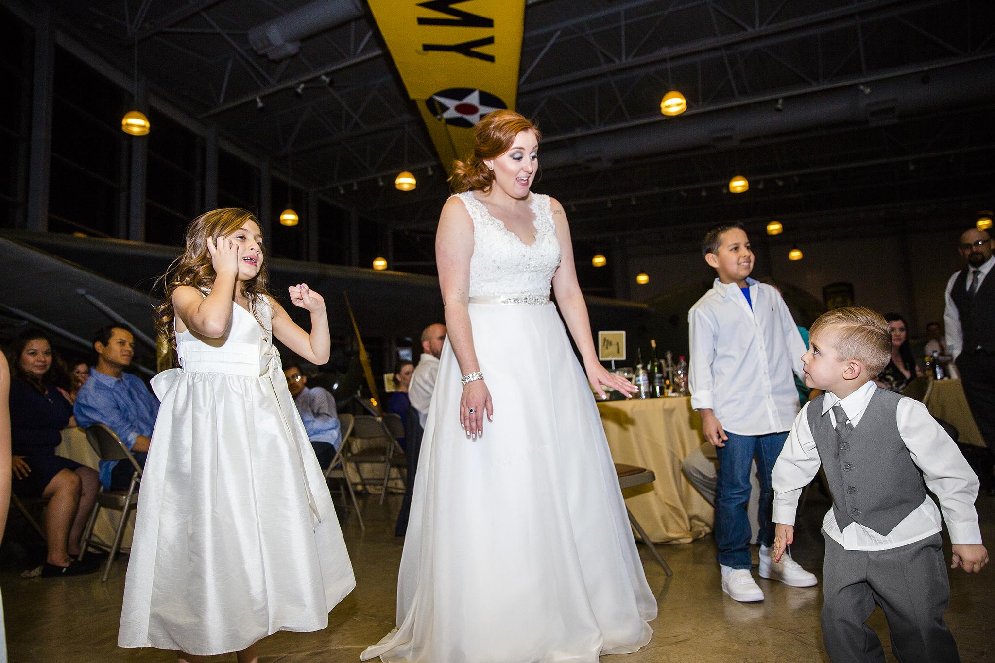 wedding dance, mother daughter and son, fun wedding reception