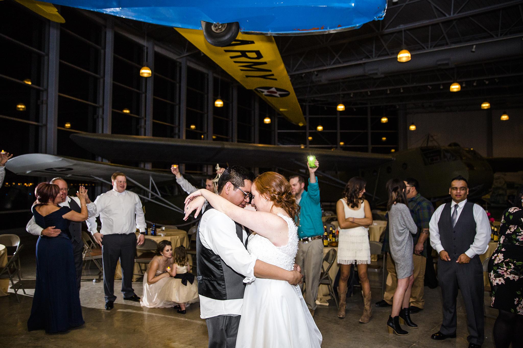 last dance, wedding reception, lubbock silent wings museum