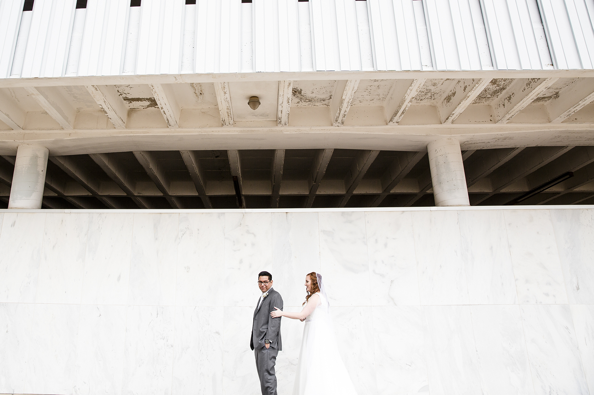 first look, bride and groom, downtown lubbock, experience life church