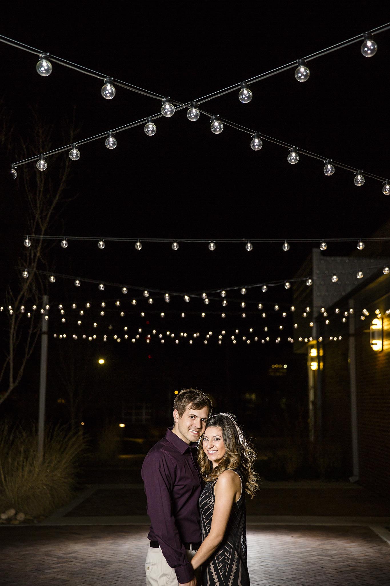 LHUCA building, bokeh, romantic engagement photos, cute couple