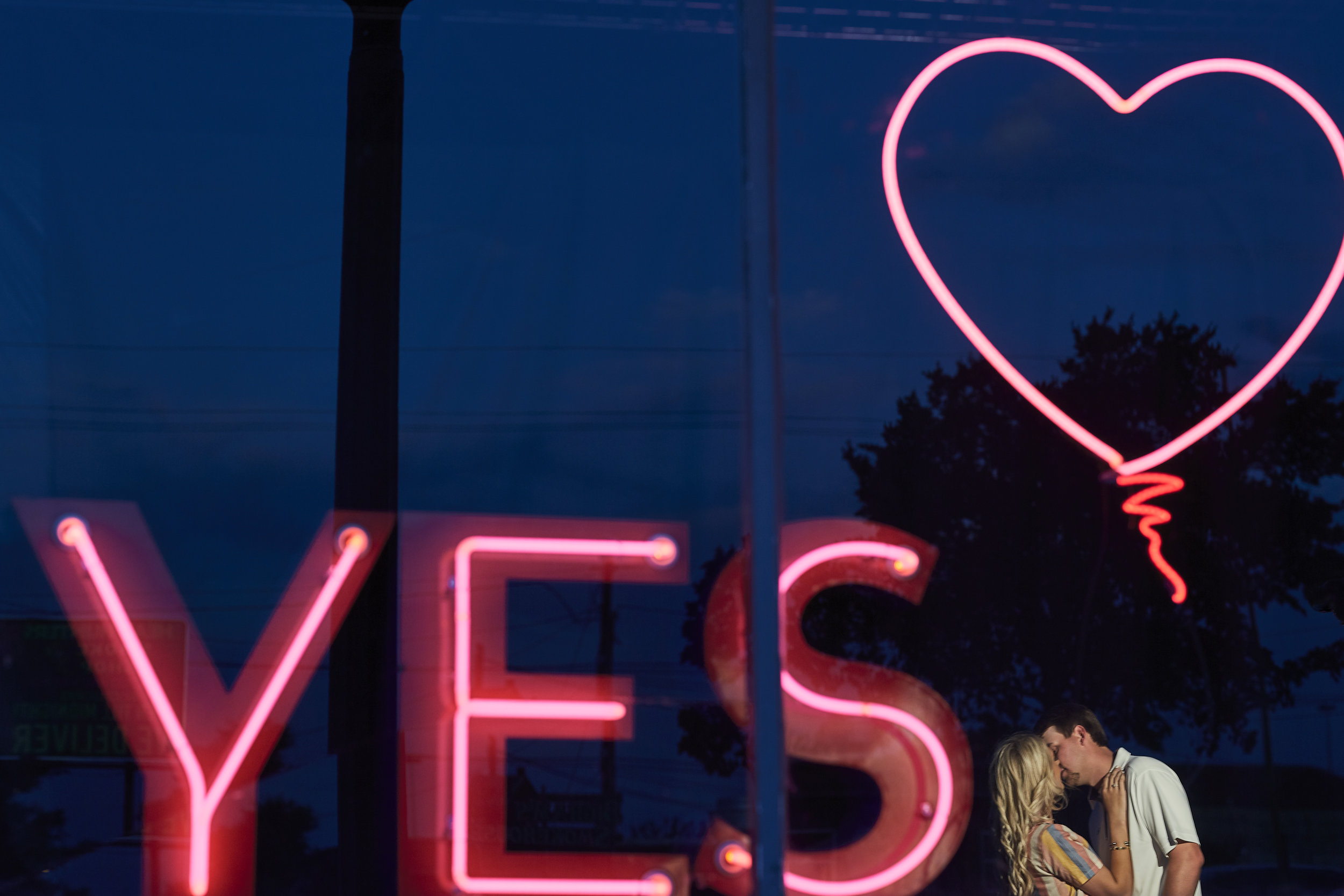 she said yes, heart, neon lights, lubbock wedding photography, reflection, lubbock wedding photographer, creative photography, dramatic photography