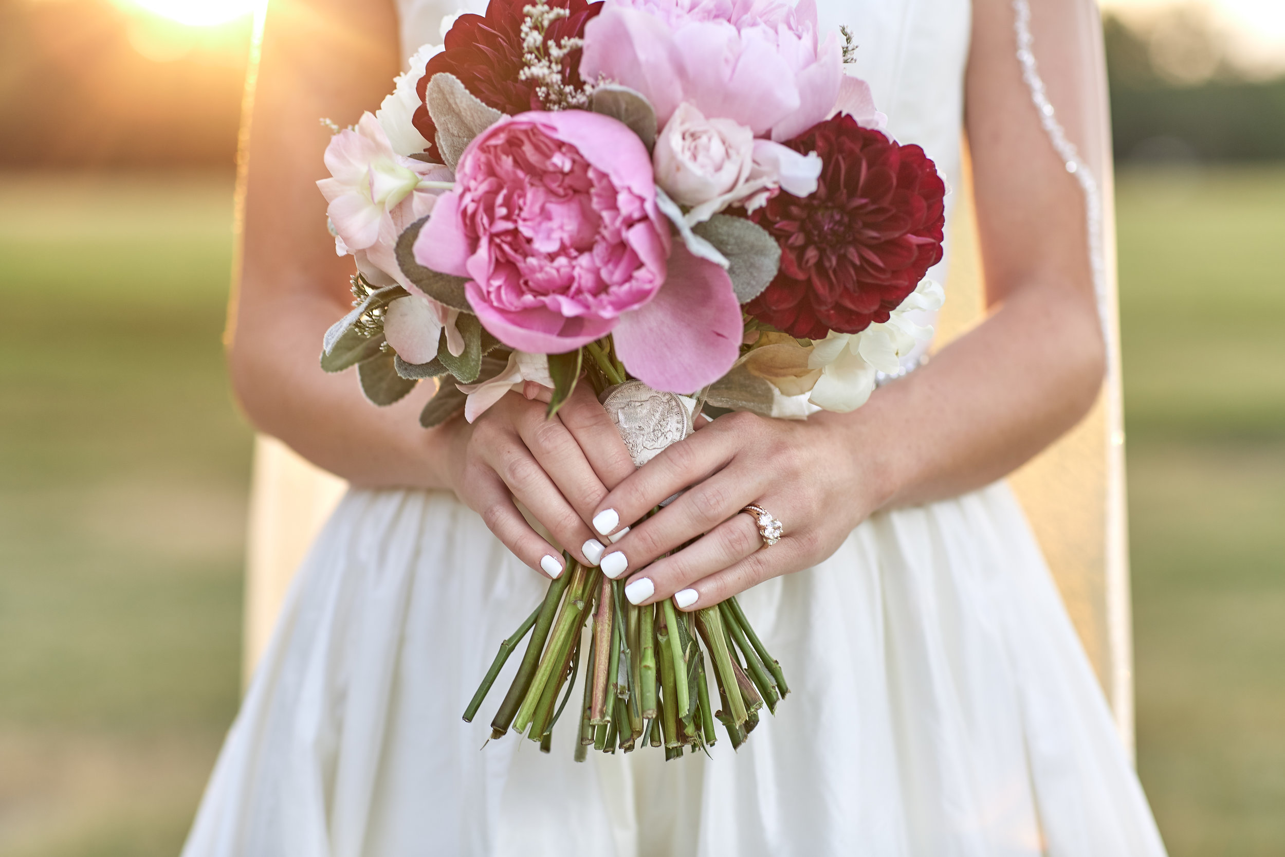 wedding details, bridal bouquet, lubbock wedding photography, golden hour, lens flare, sunset, natural light