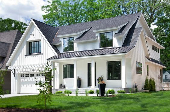 A modern farmhouse with steel coated roofing