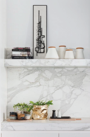 I love simple,contemporary details mixed with classical roots. A slab splash with a mitered stone shelf, are details that make me love what i do. After all, beauty is found in the details. (designer on this is unknown)