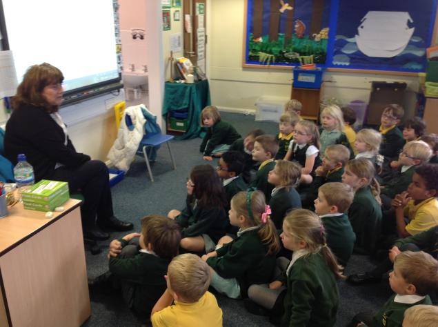 Mrs Websrer visited our class to talk about St Joseph's in the past. We learnt that the children used to have Mass every day. At lunch time they left school and walked to the Scout hut where they ate lunch. The school uniform was the same colours as we wear.