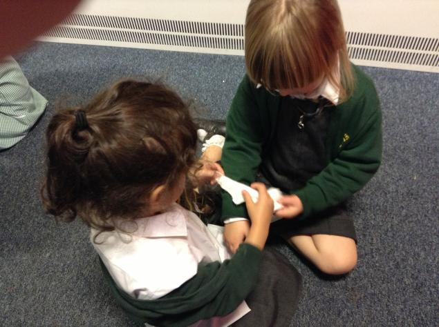 We had lots of fun playing in the role-play Gruffalo area today.